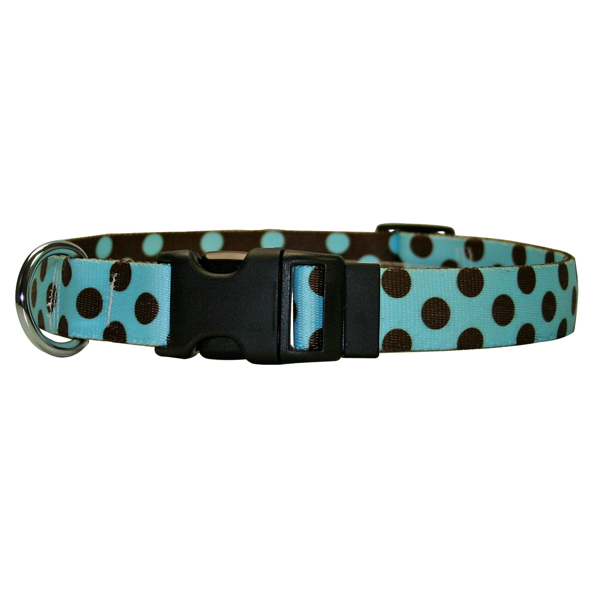 Blue and Brown Polka Dot Standard Collar