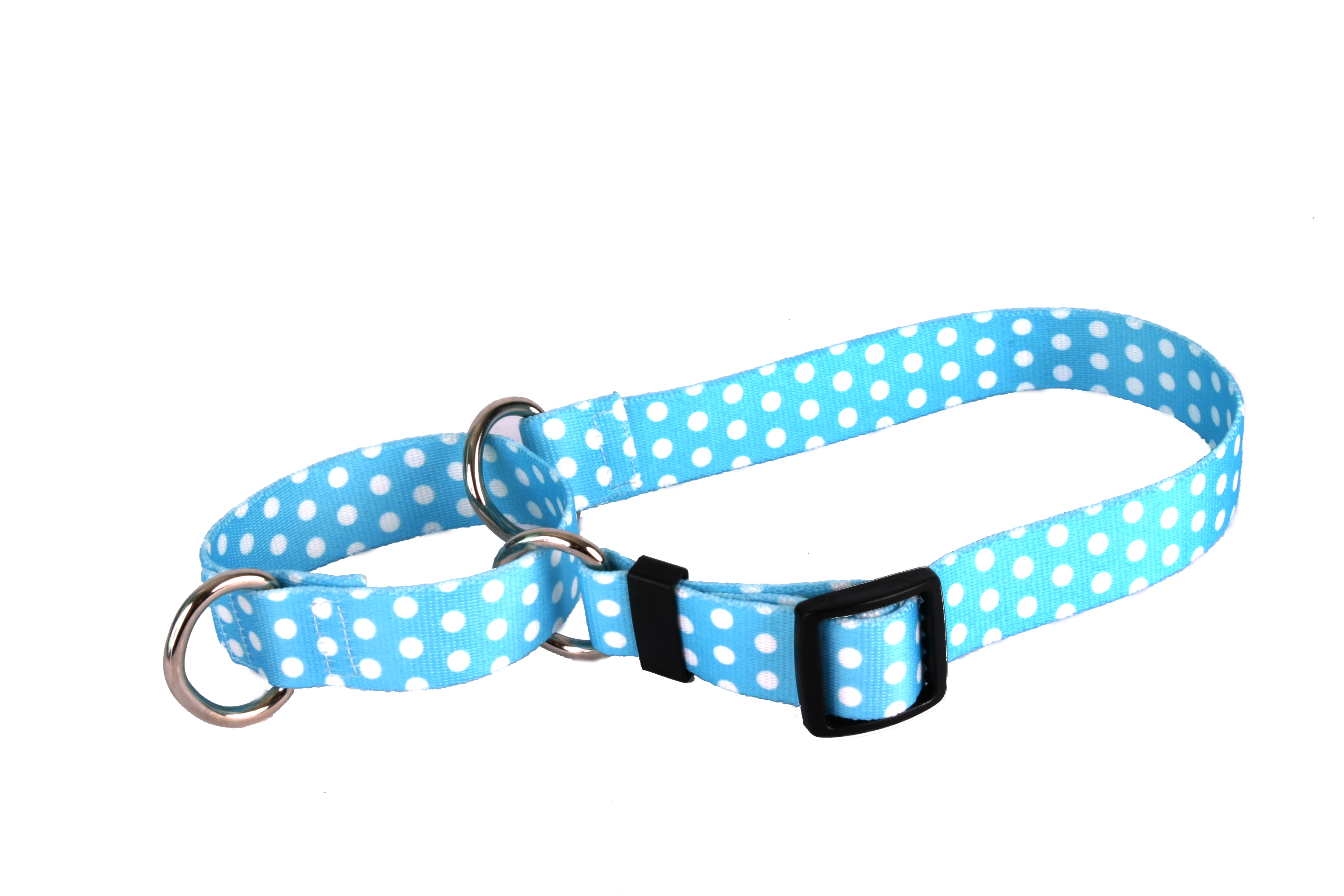 New Blue Polka Dot Martingale Collar