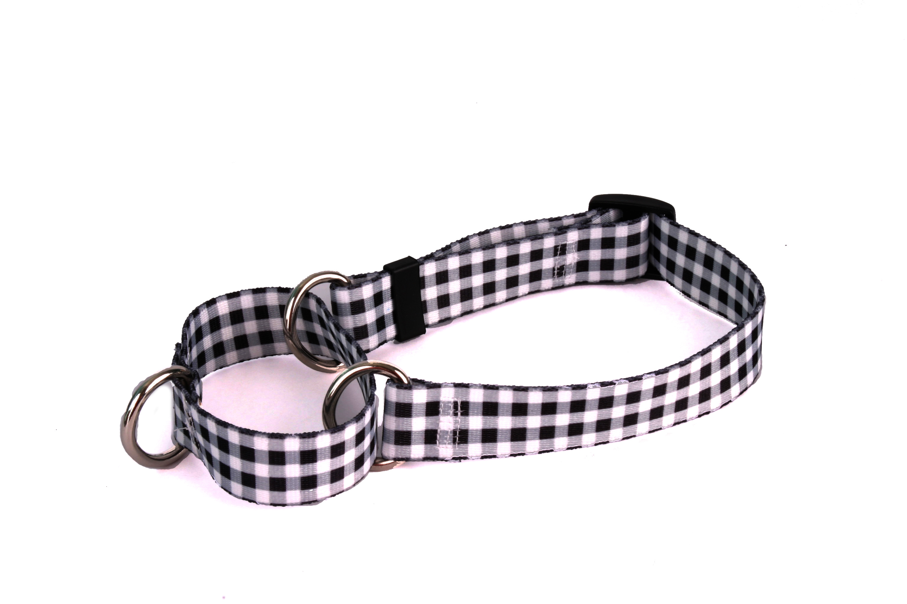 Gingham Black Martingale Collar