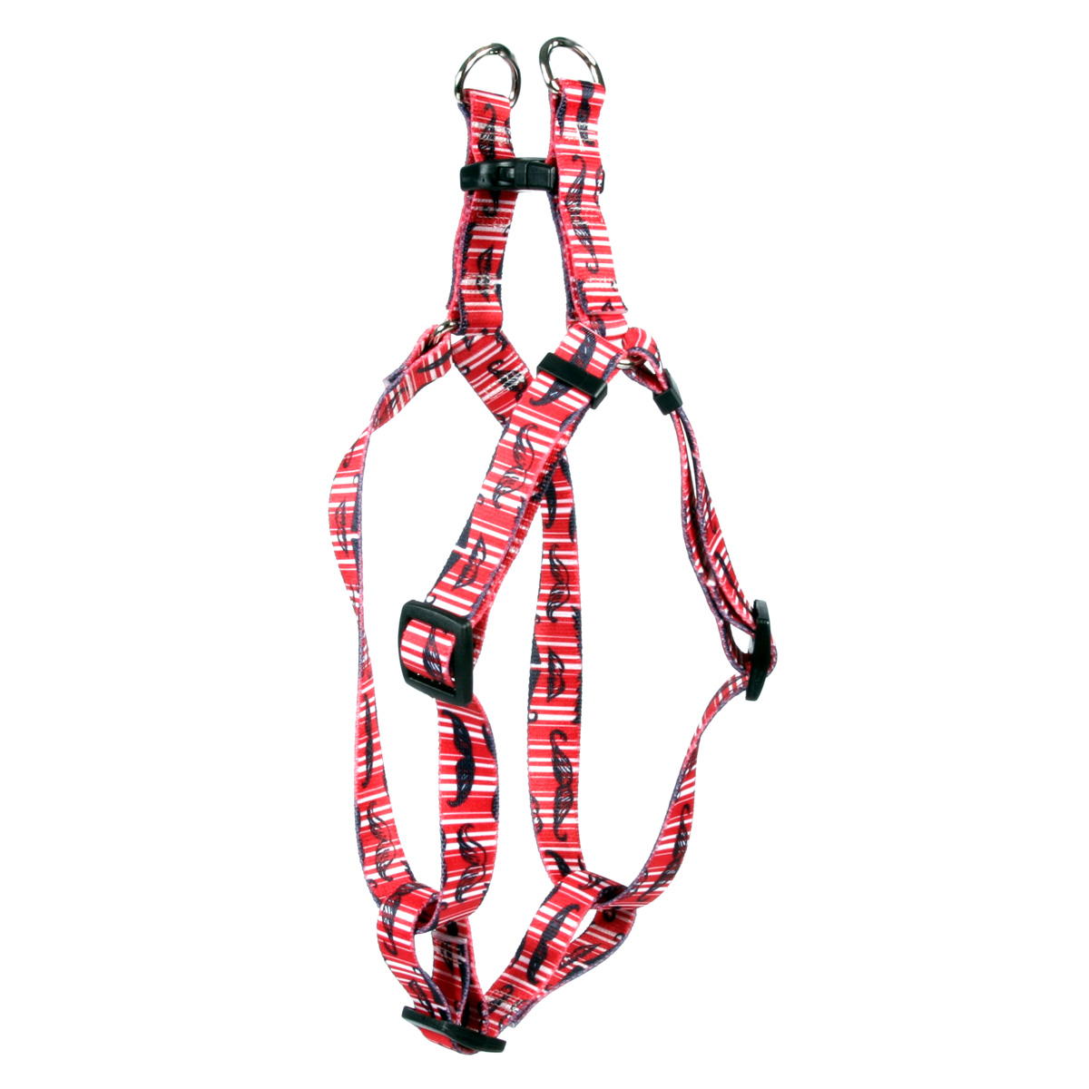 Moustaches & Stripes - Red Step-In Harness