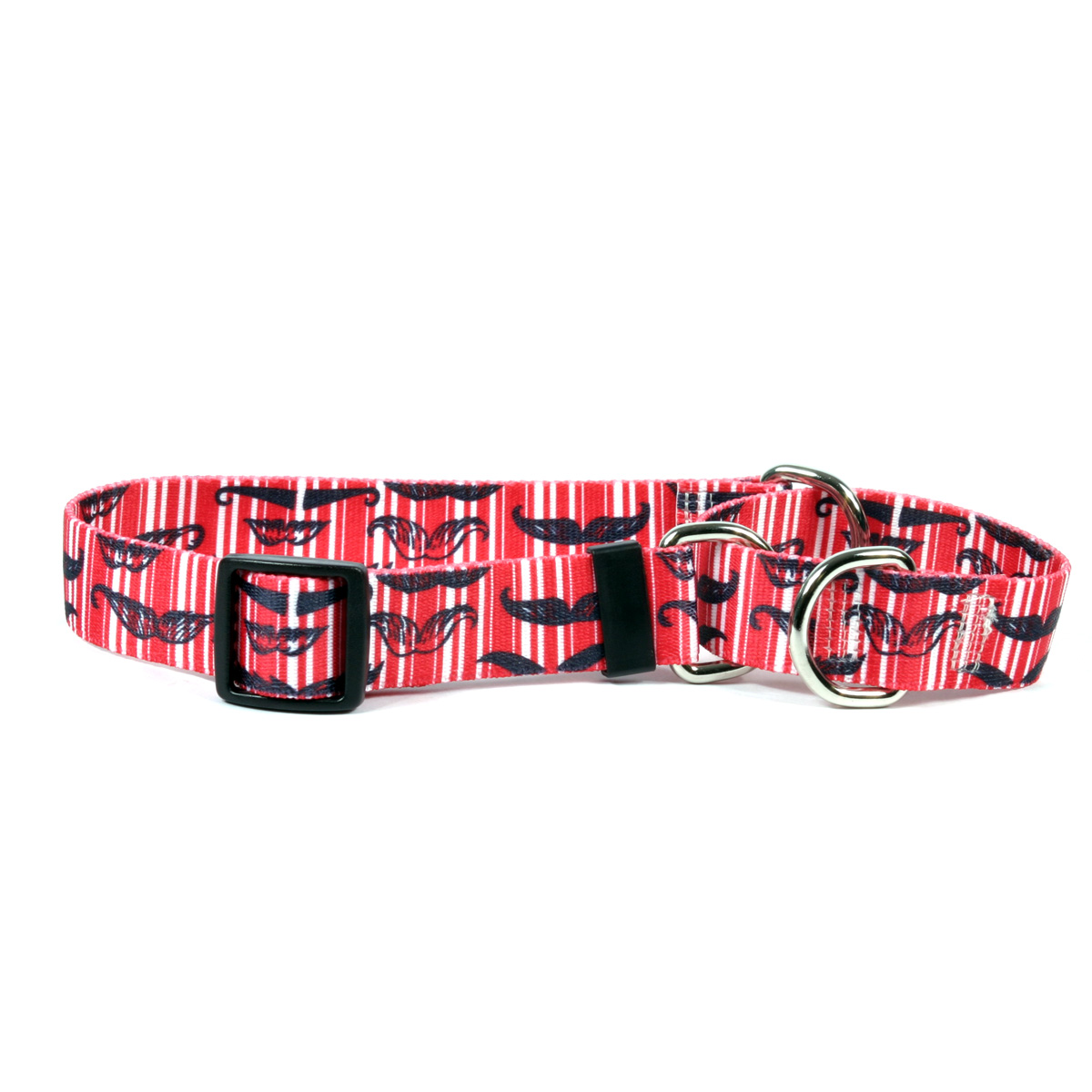 Moustaches & Stripes - Red Martingale Collar