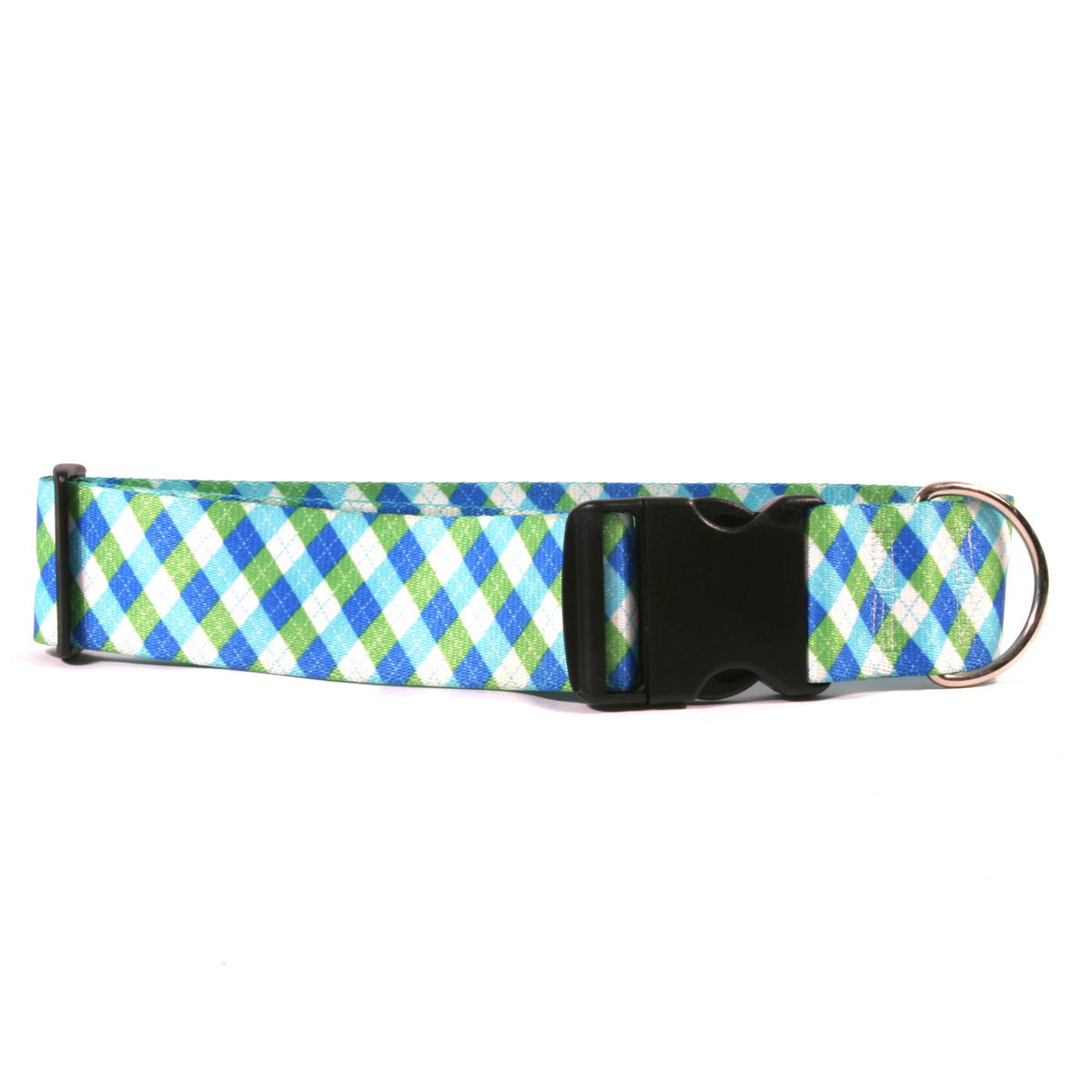 2 Inch Wide Argyle Blue Green Dog Collar