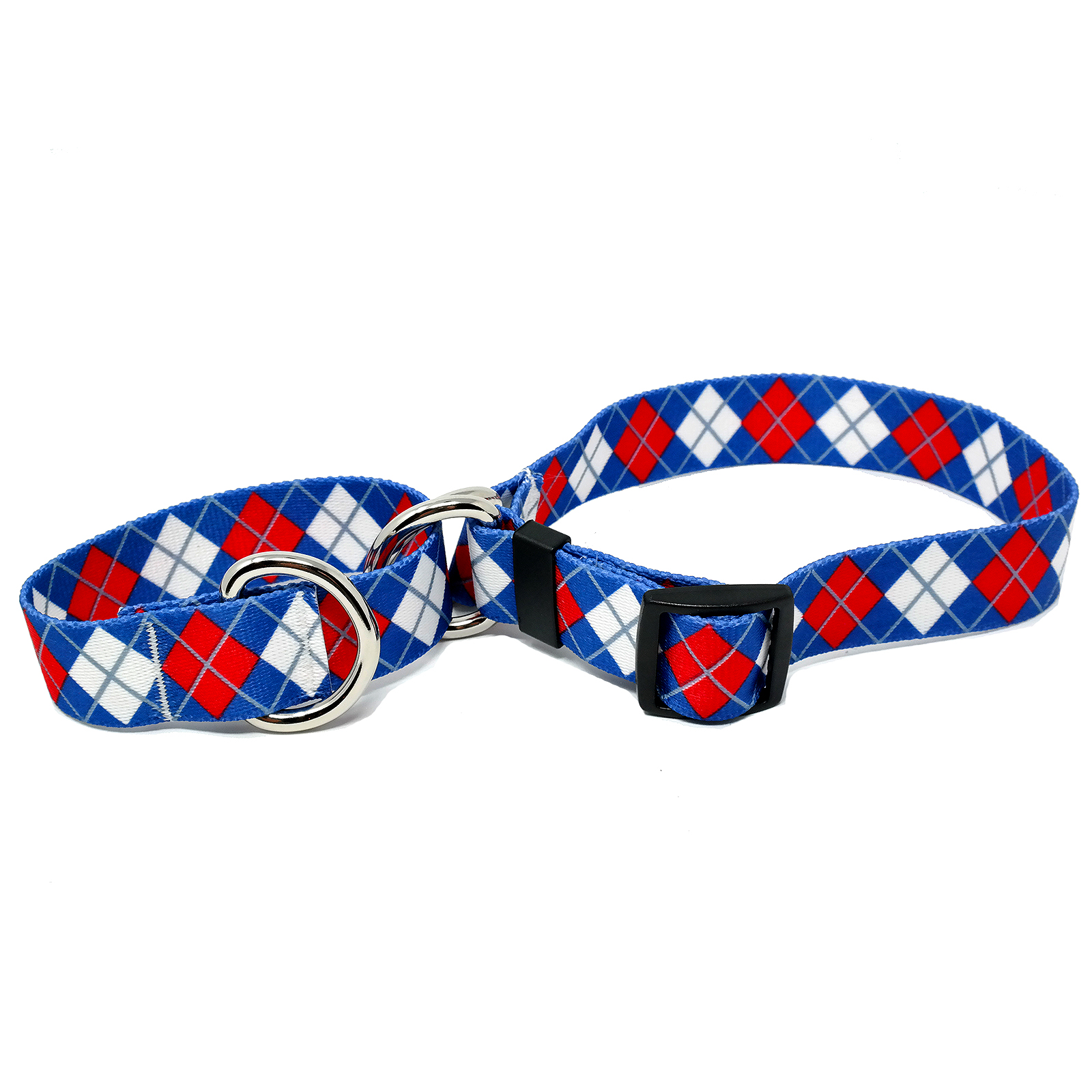 Blue & Red Argyle Martingale Collar