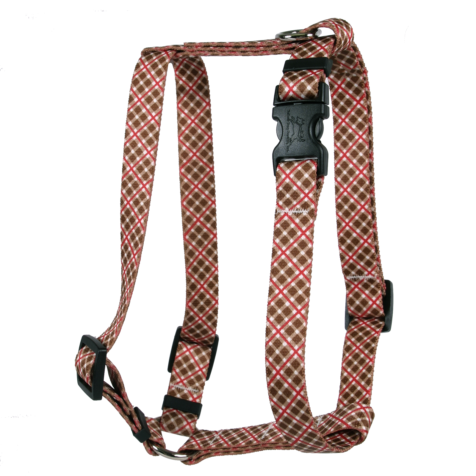 Brown and Red Diagonal Plaid Roman H Harness