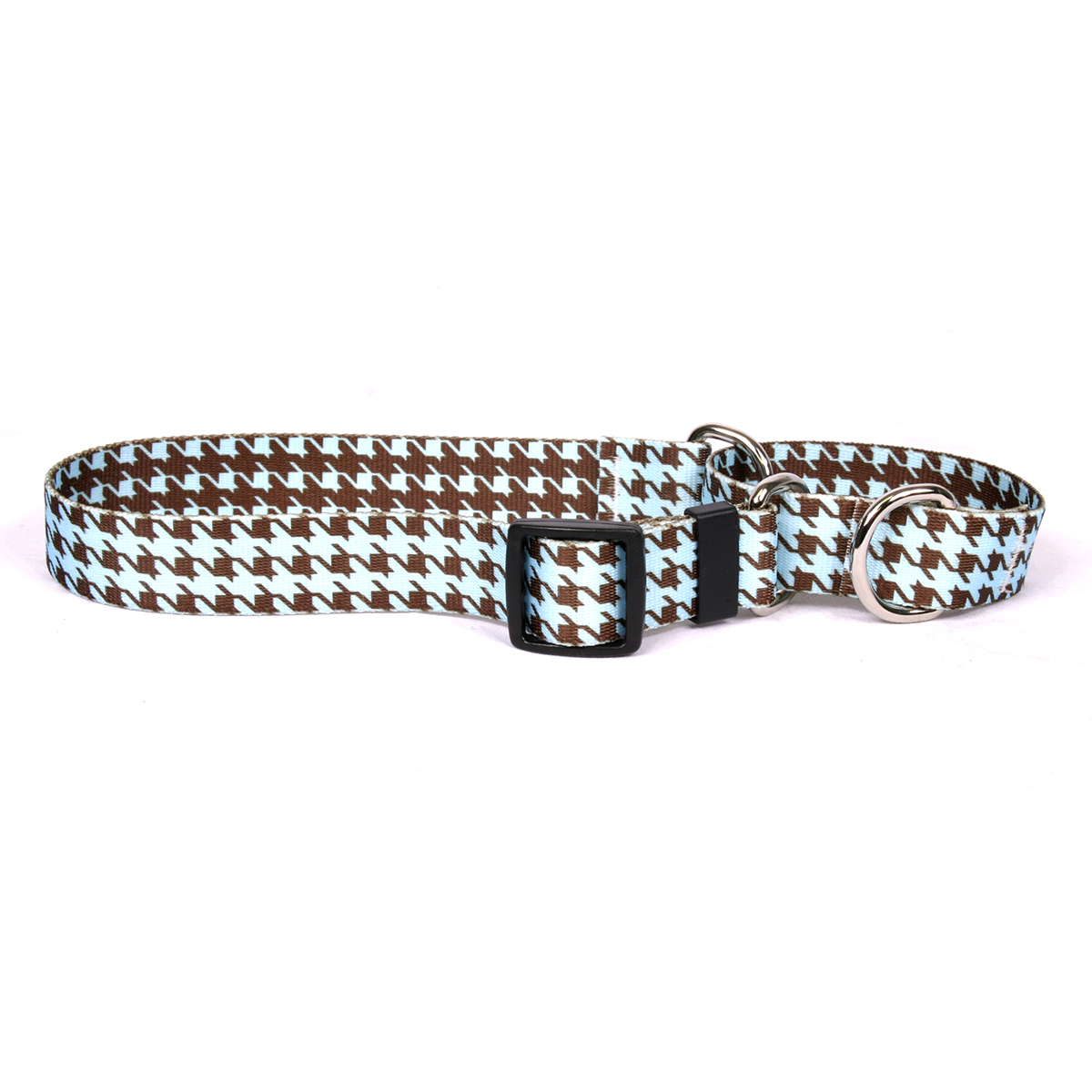 Houndstooth Blue and Brown Martingale Collar