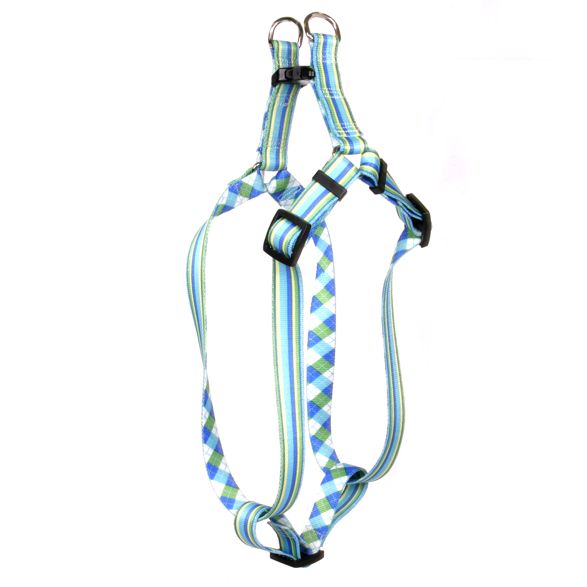 Blue and Green Stripes Step-In Harness