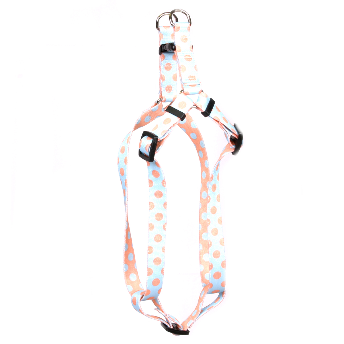 Blue and Melon Polka Dot Step-In Harness