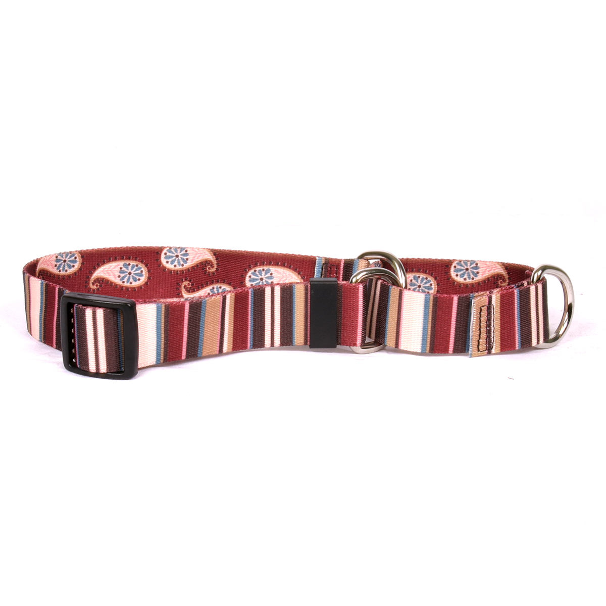 Burgundy Stripes Martingale Collar