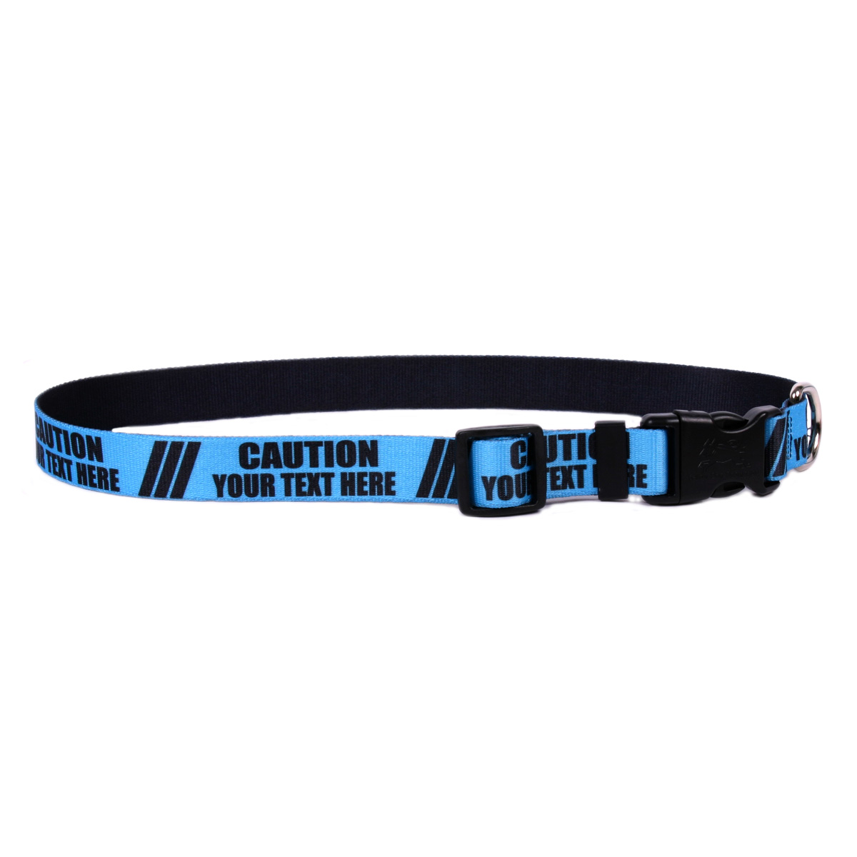 YDiD Personalized Caution BLUE Dog Collar