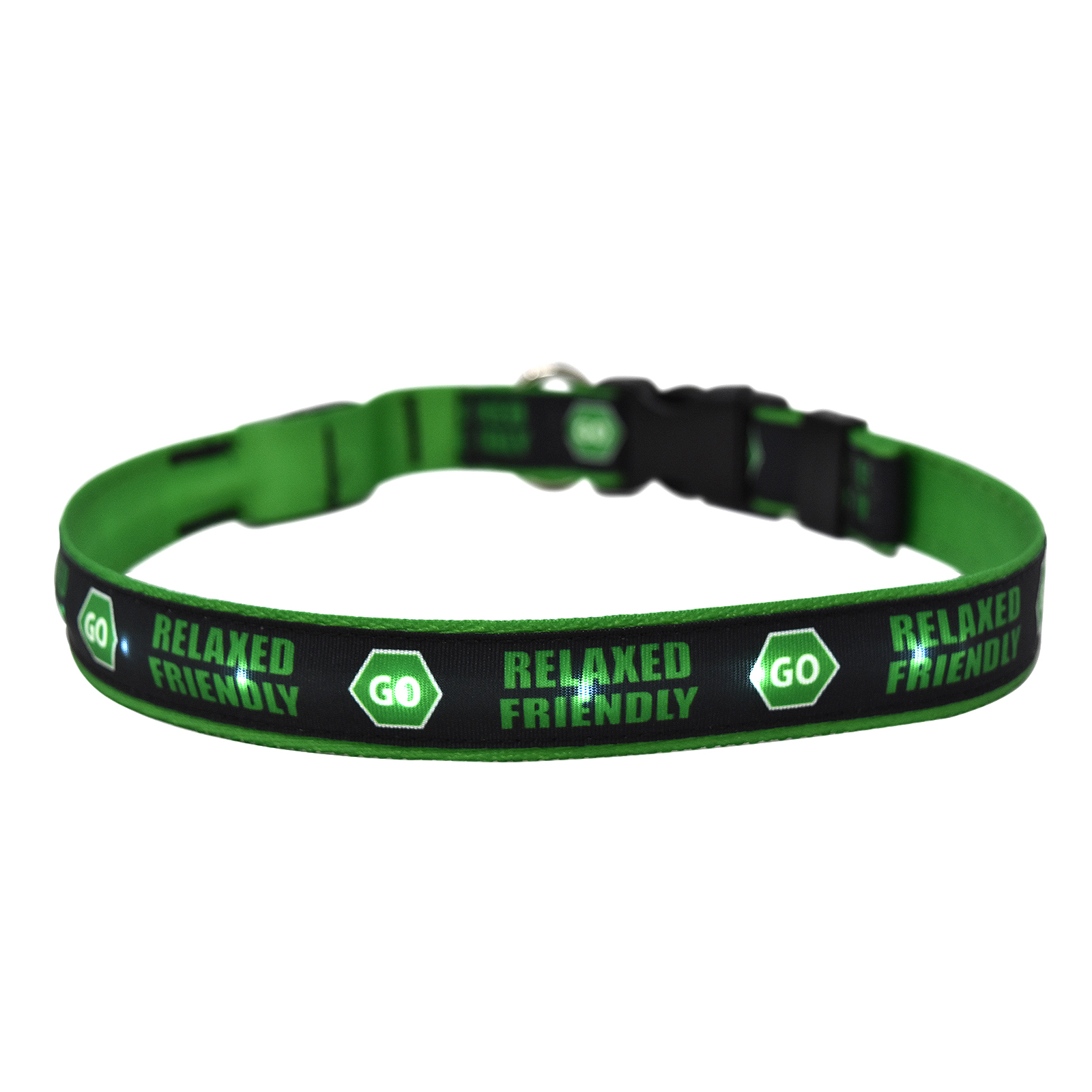 Caution Relaxed Friendly Sign ORION LED Dog Collar