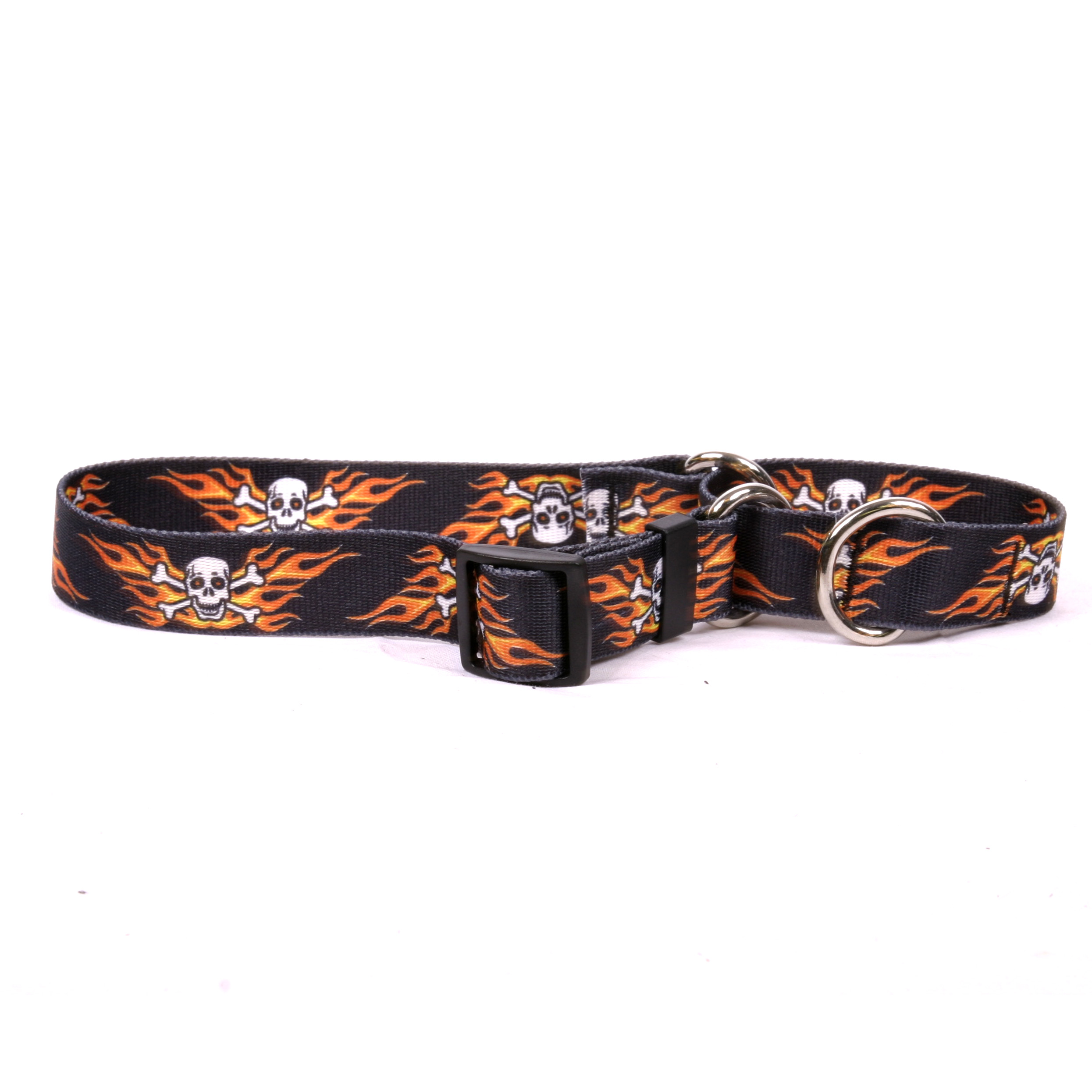 Flaming Skulls Martingale Collar