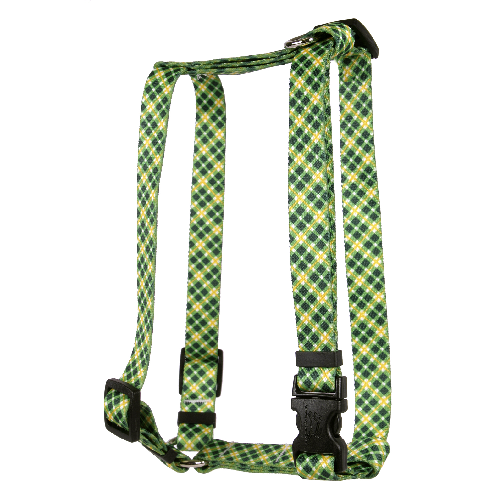 Green and Gold Diagonal Plaid Roman H Harness