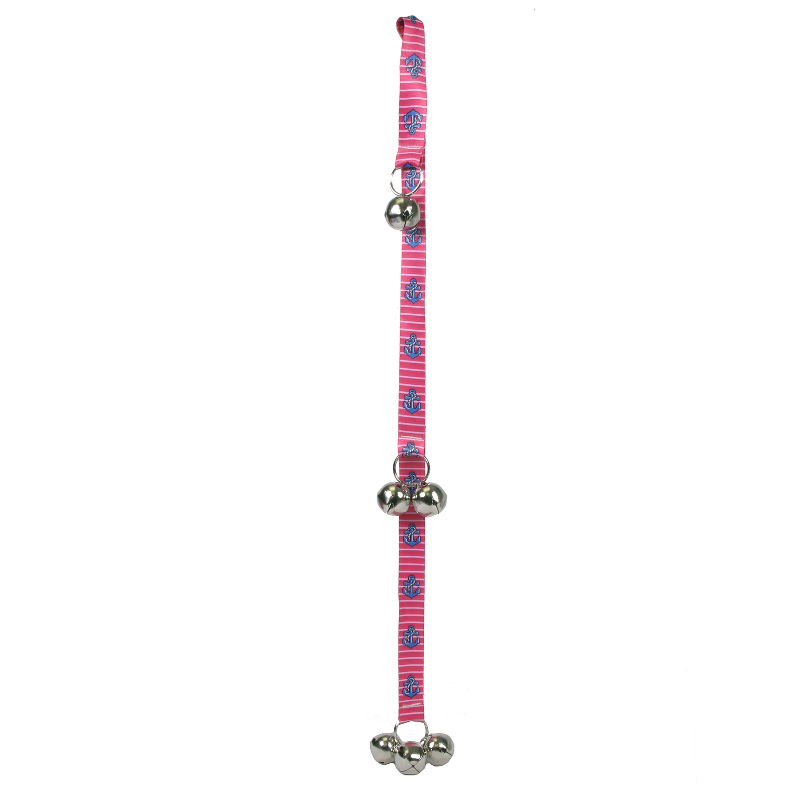 Anchors on Pink Stripes Ding Dog Bell