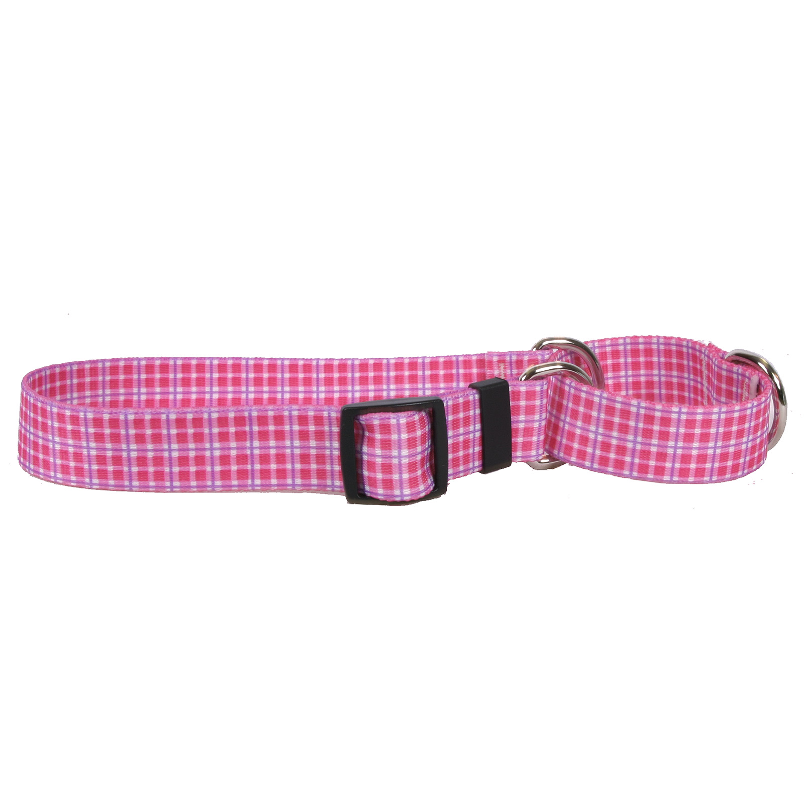 Preppy Plaid Pink Martingale Collar