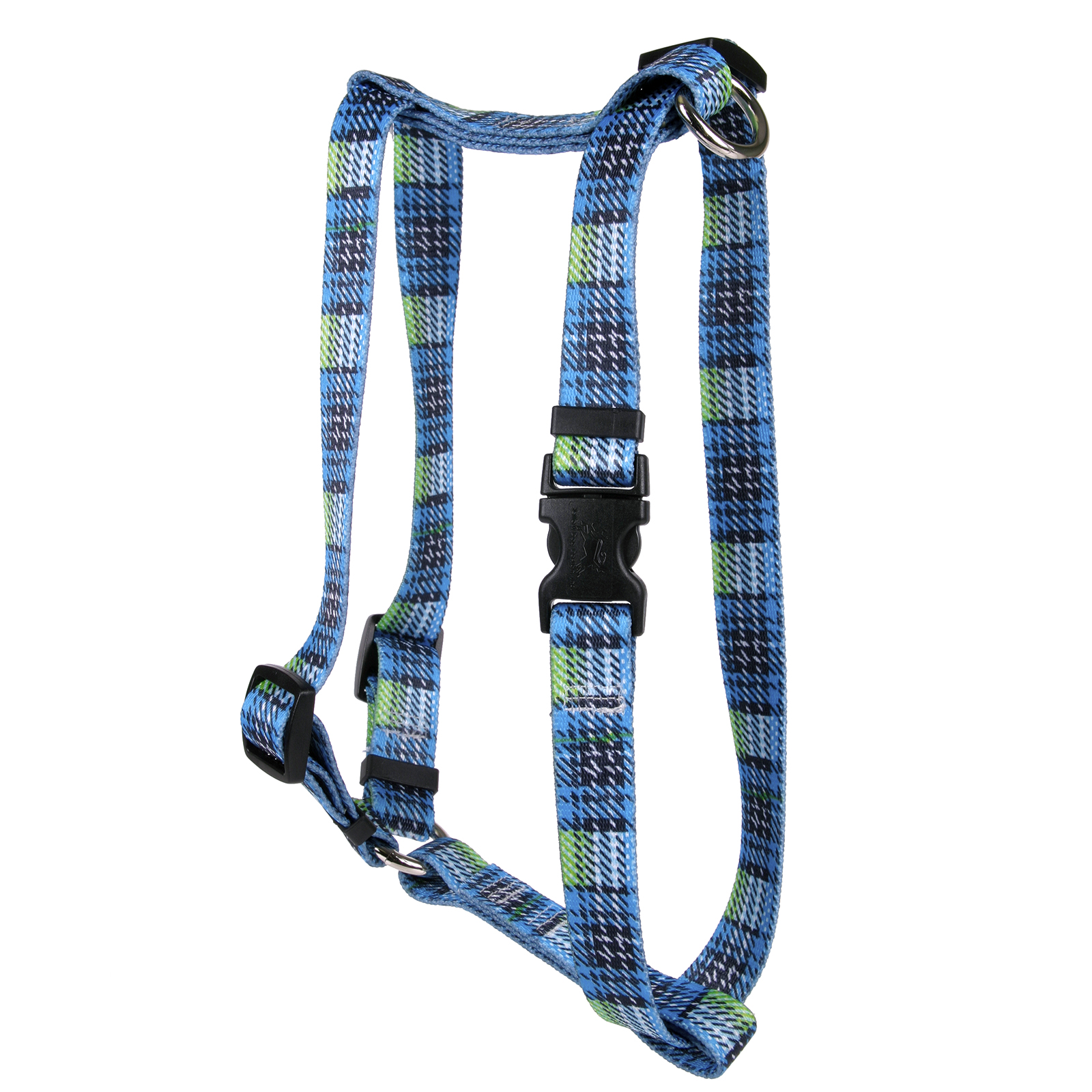 Highland Plaid Blue and Black Roman H Harness