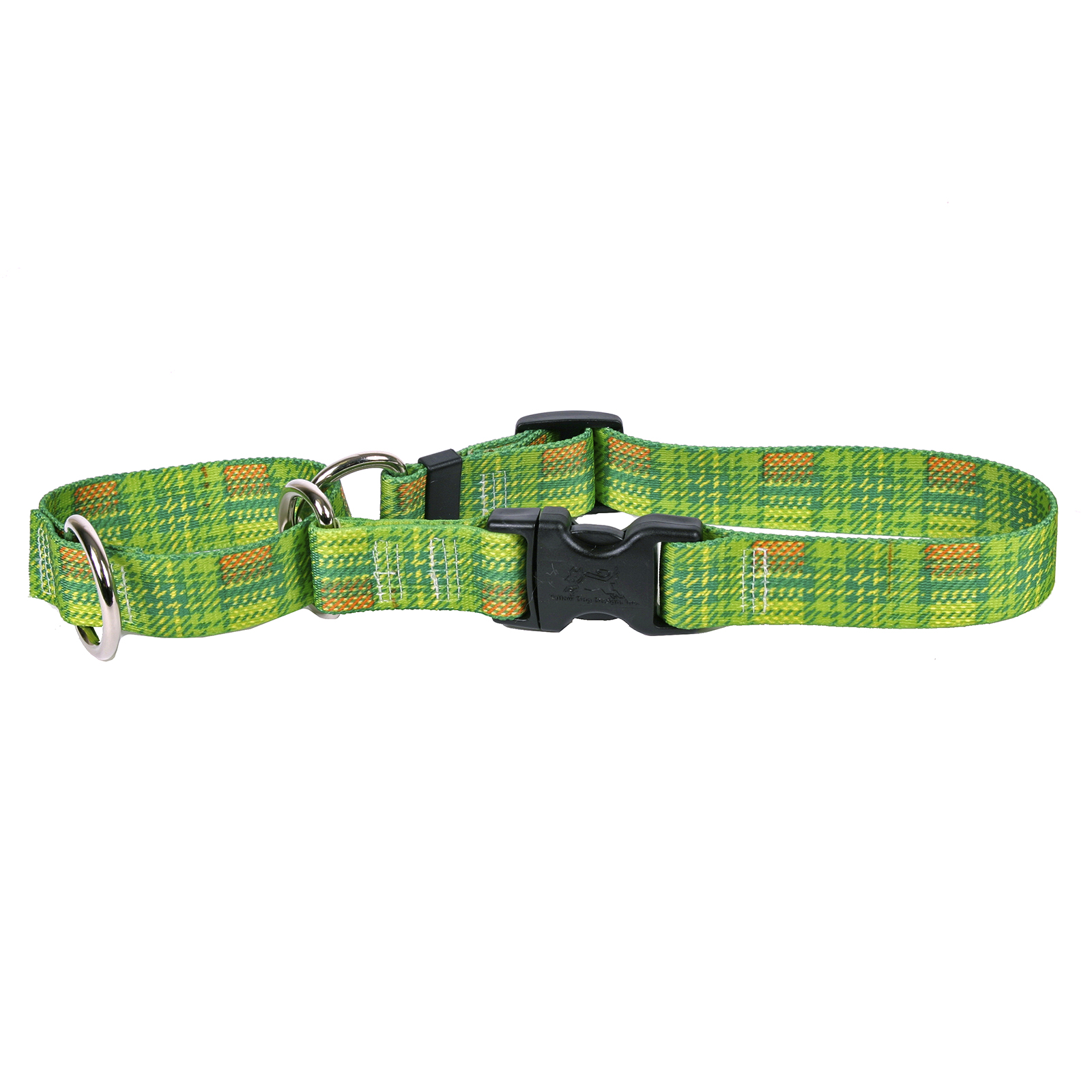 Highland Plaid Green and Orange Martingale Collar