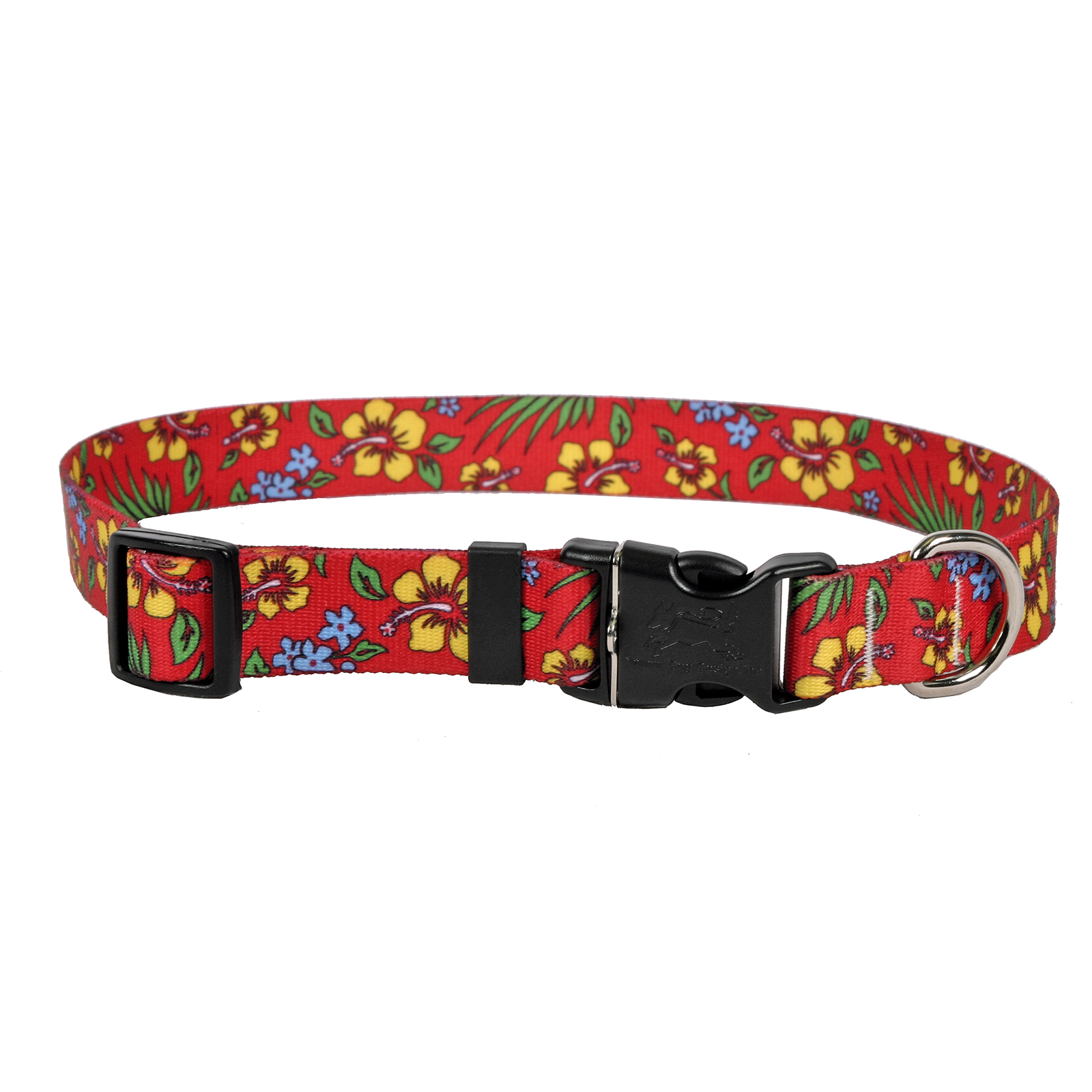 Yellow Hibiscus on Red Standard Collar