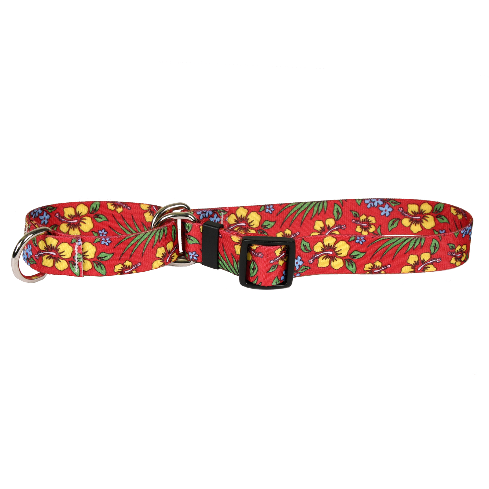 Yellow Hibiscus on Red Martingale Collar