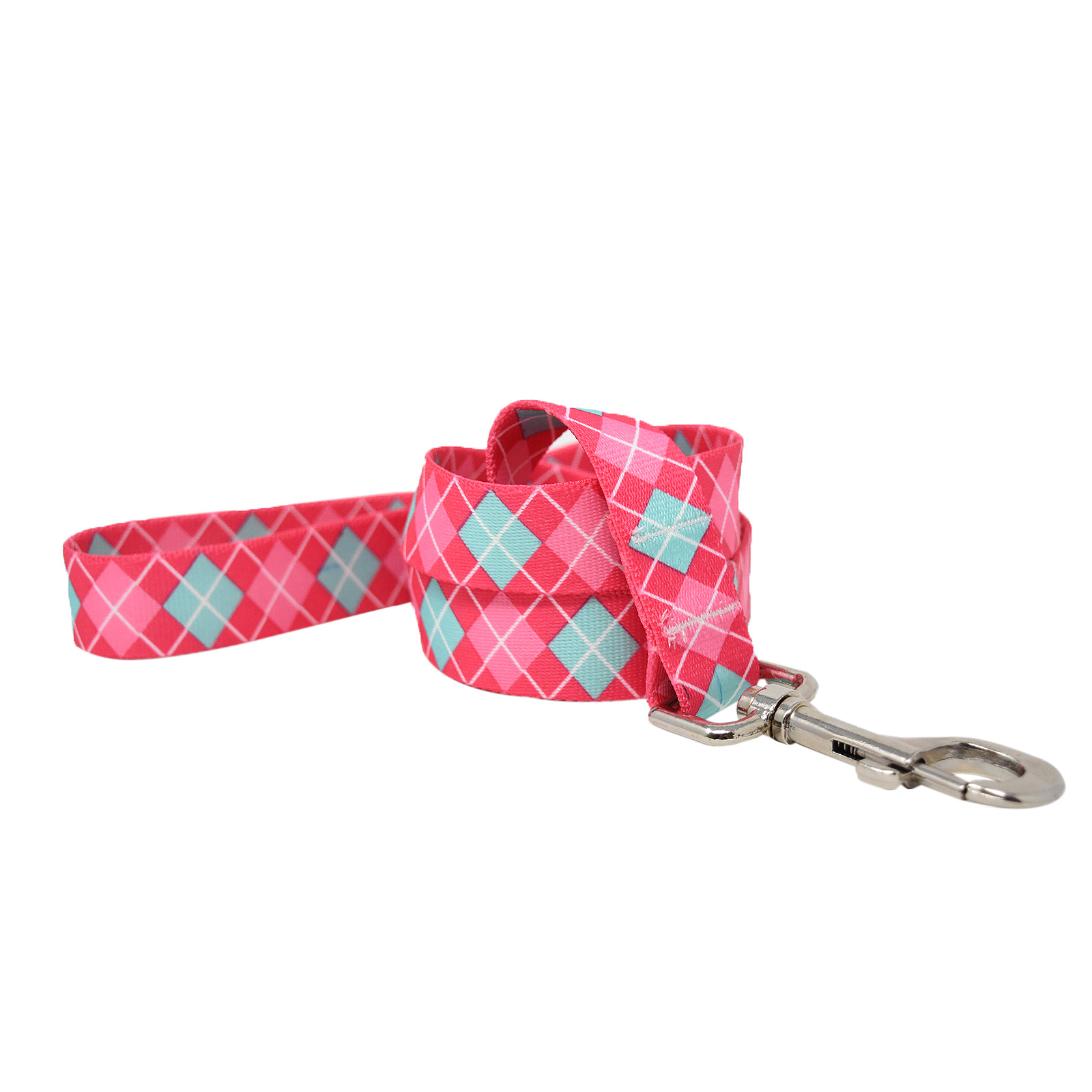 Magenta and Light Blue Argyle Lead