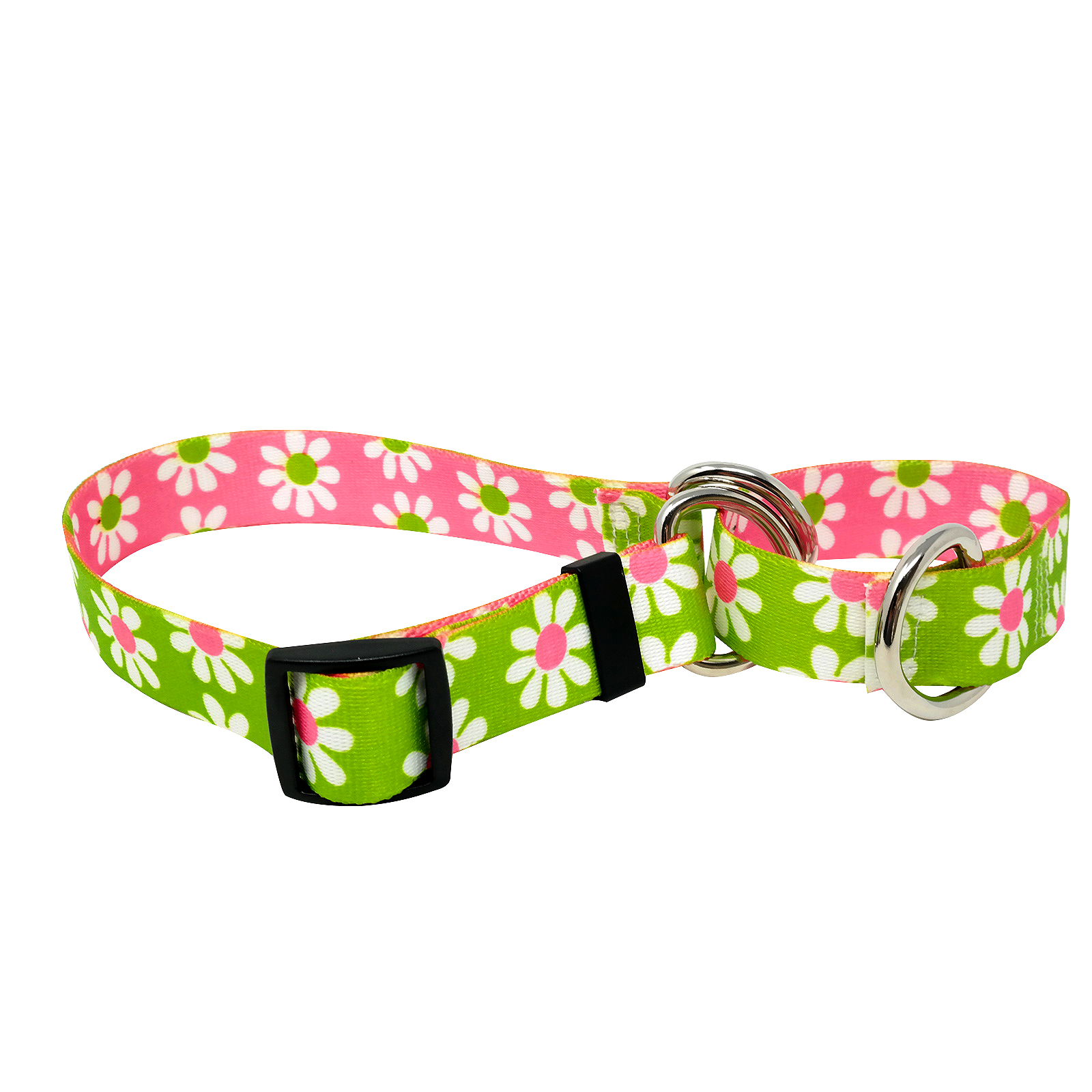 Green & Pink  Daisy Martingale Collar