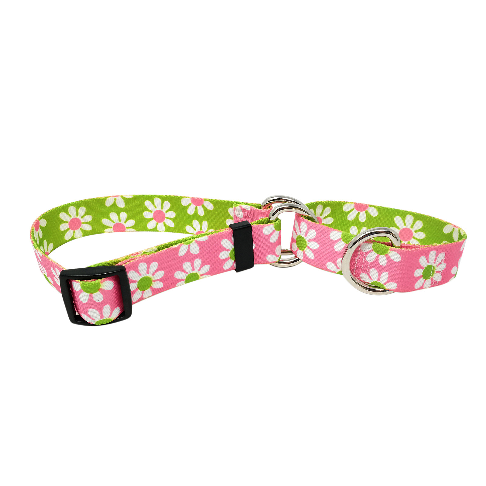 Pink & Green Daisy Martingale Collar