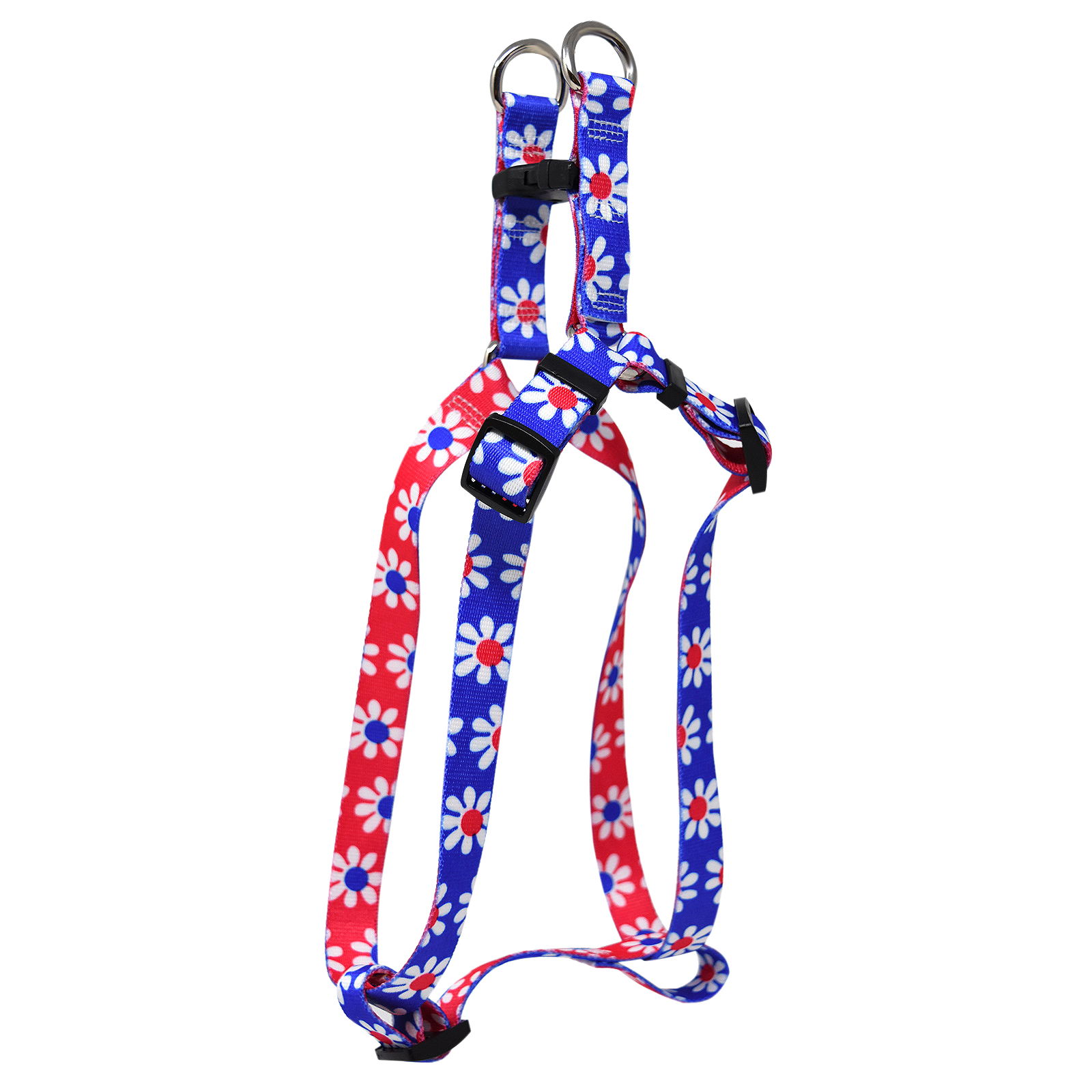 Royal Blue & Magenta Daisy Step-In Harness