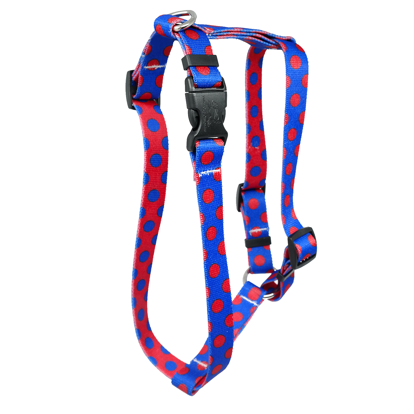 Royal Blue & Red Polka Roman H Harness