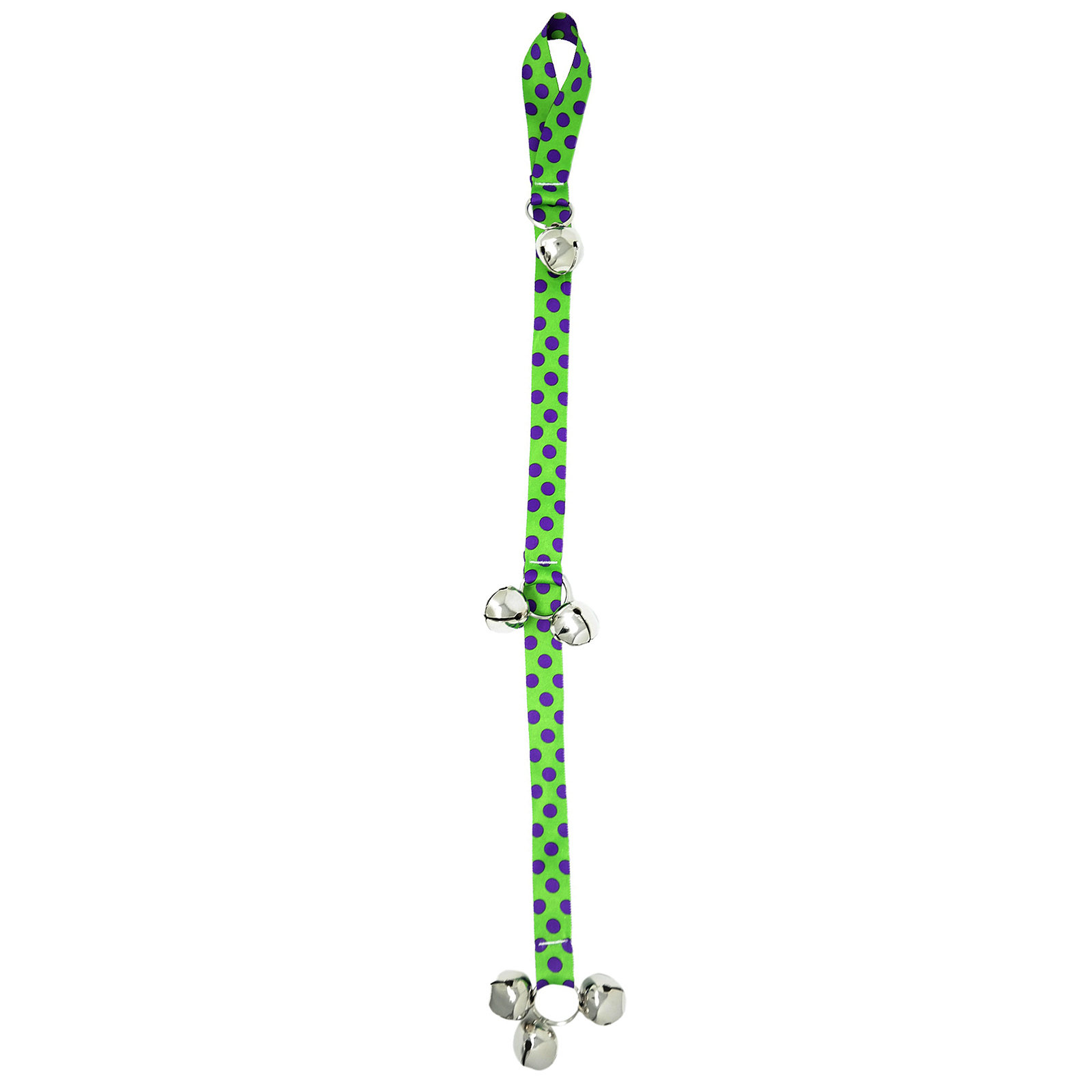 Spring Green & Purple Polka Ding Dog Bell