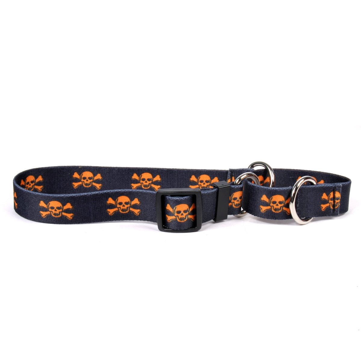 Orange and Black Skulls Martingale Collar