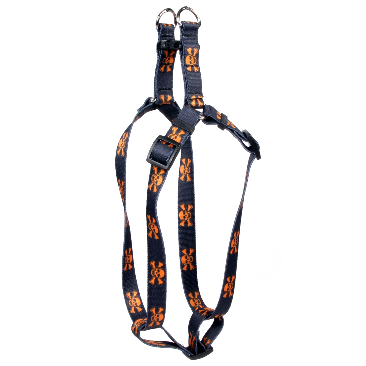 Orange and Black Skulls Step-In Harness
