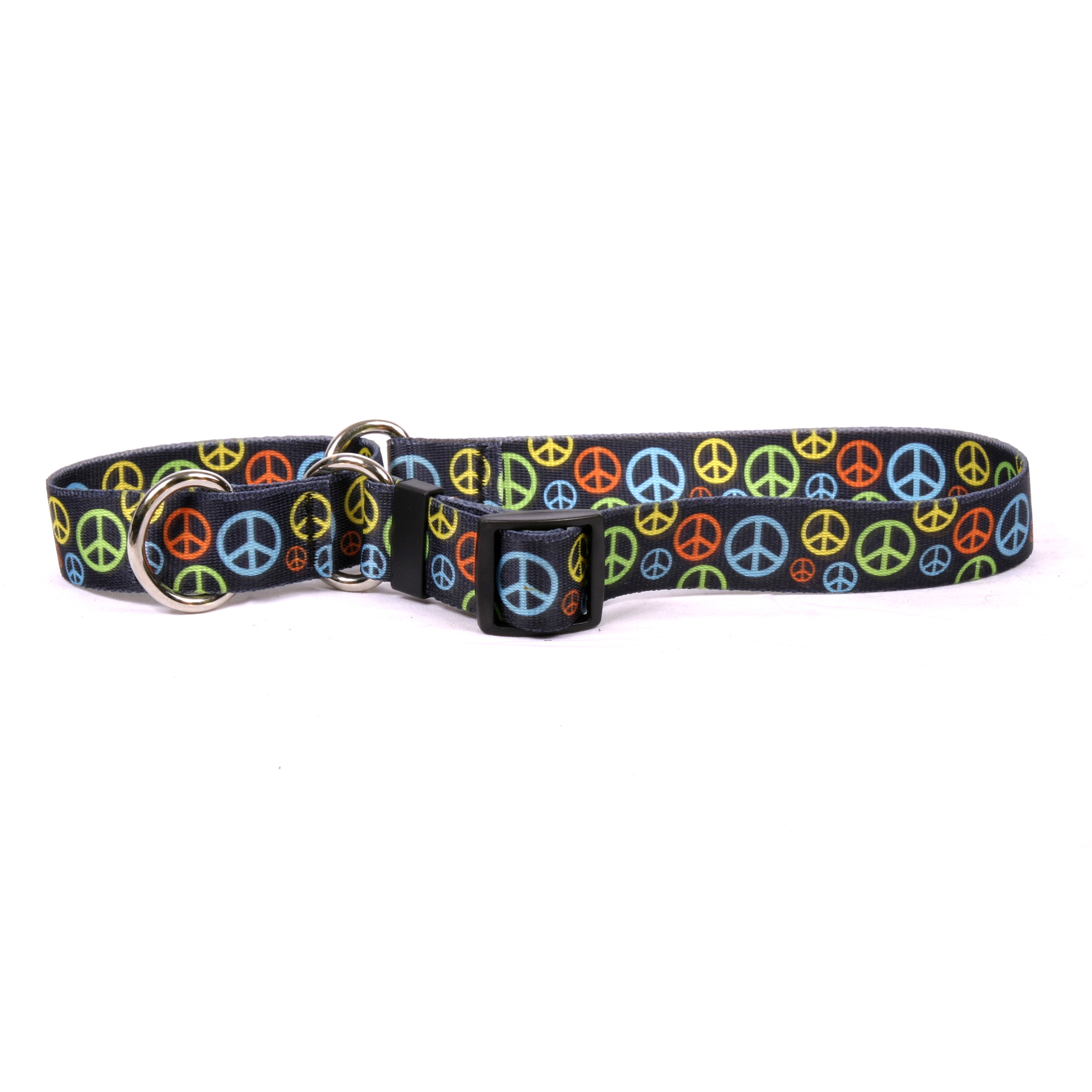 Neon Peace Signs Martingale Collar