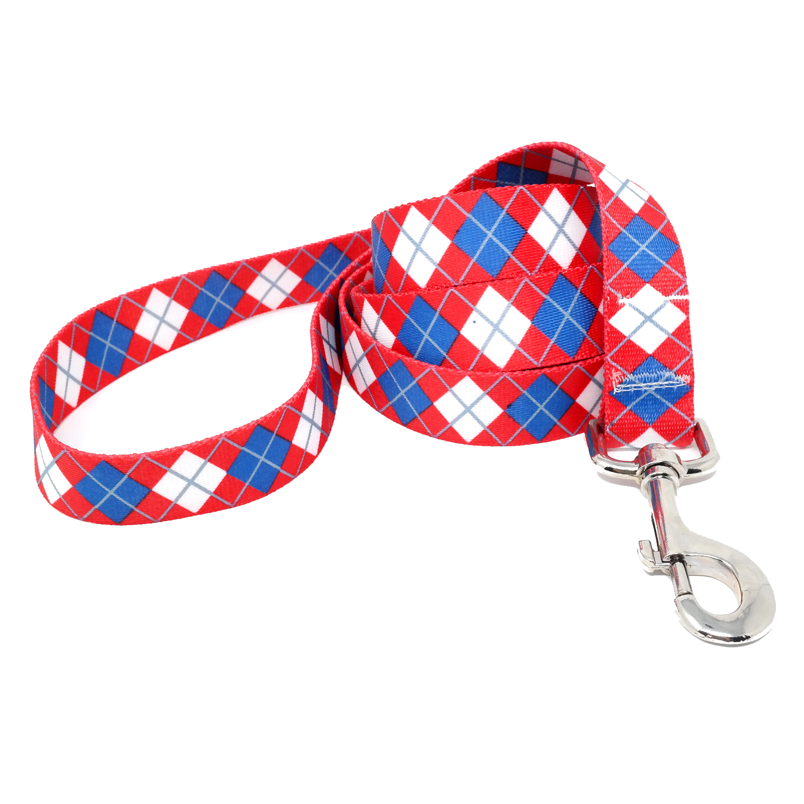 Red & Blue Argyle Lead