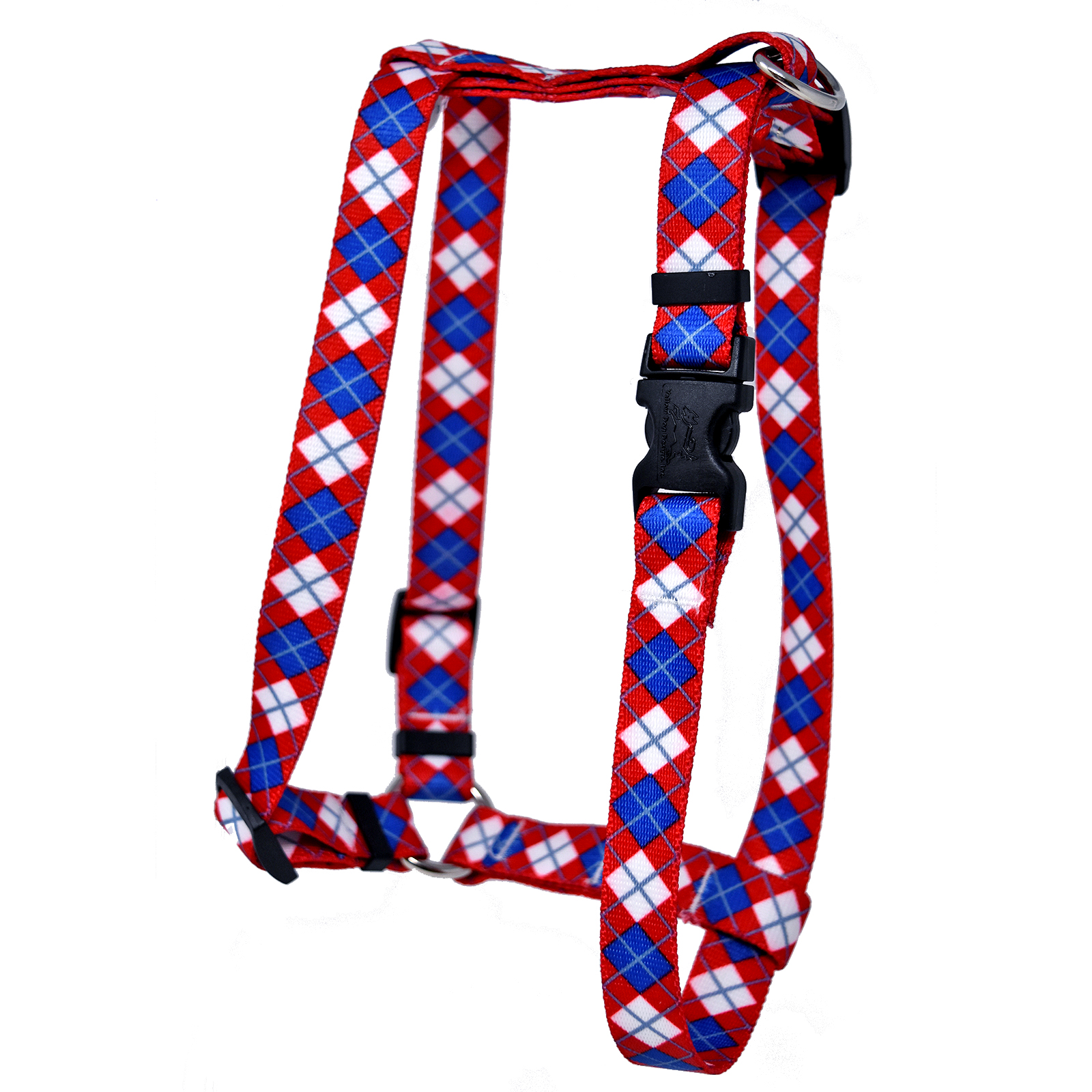Red & Blue Argyle Roman H Harness