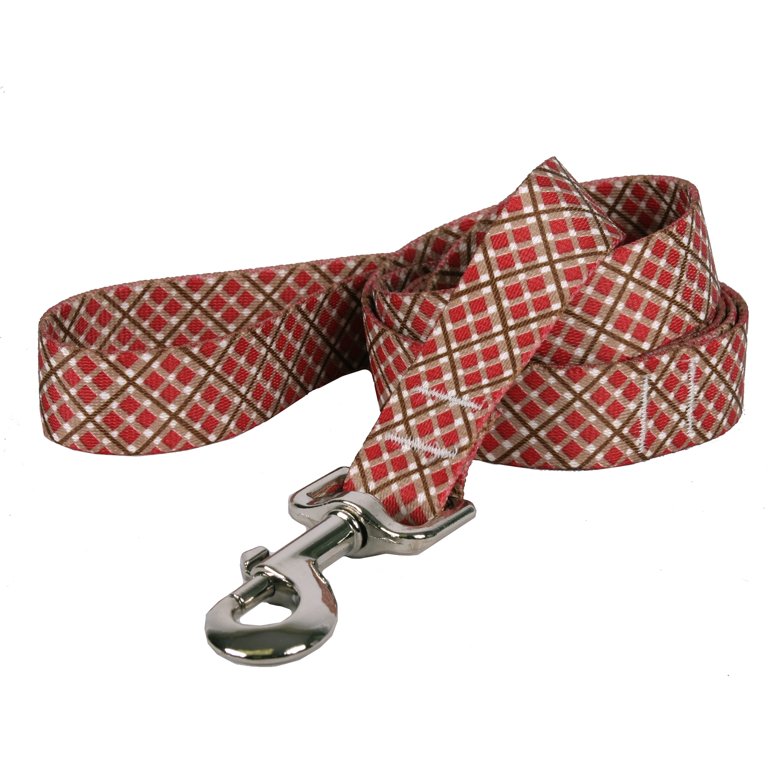 Red and Brown Diagonal Plaid Lead