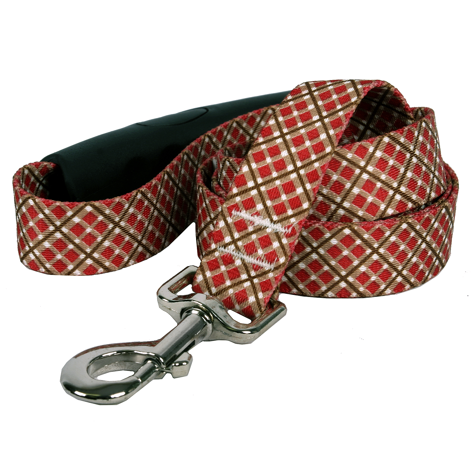 Red and Brown Diagonal Plaid EZ-Lead
