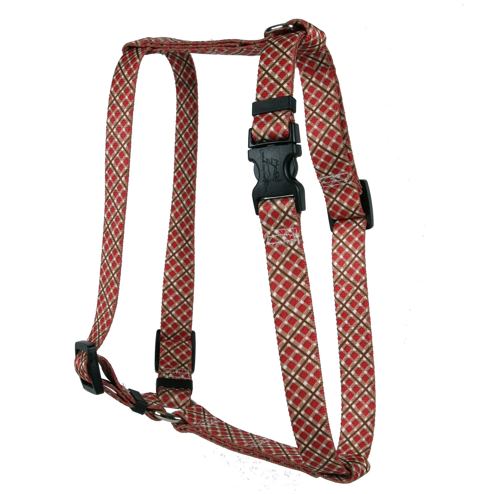 Red and Brown Diagonal Plaid Roman H Harness