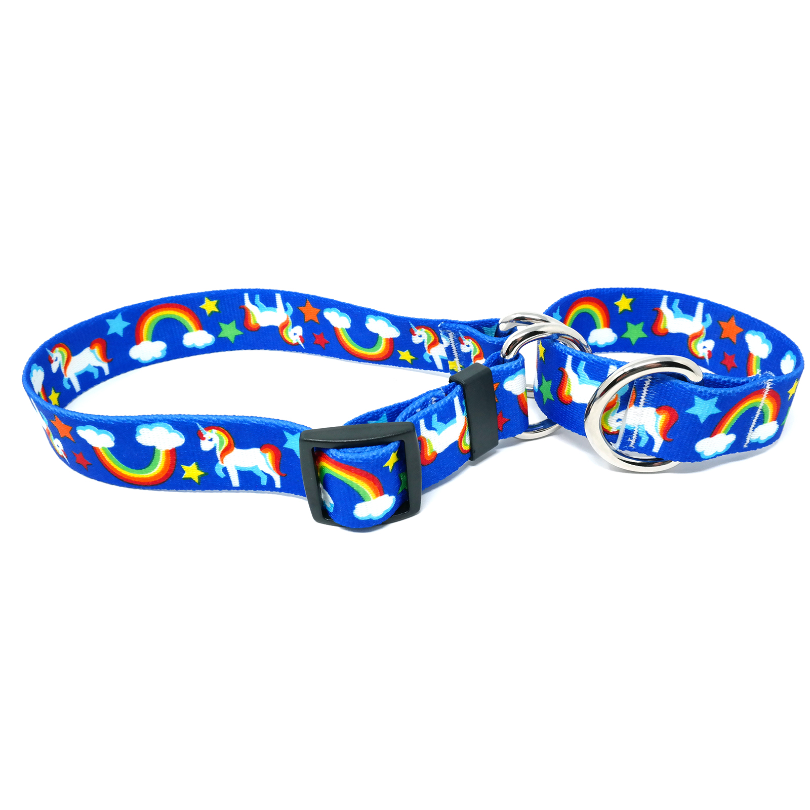 Rainbow Unicorn Blue  Martingale Collar