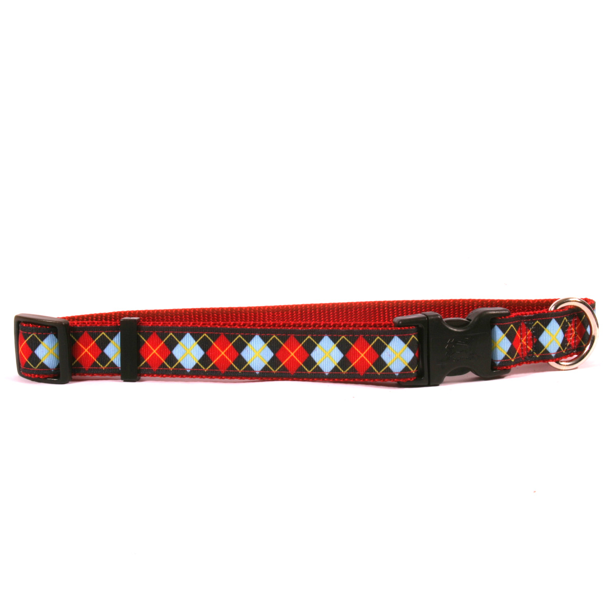 Red Argyle on Red Ribbon Collar