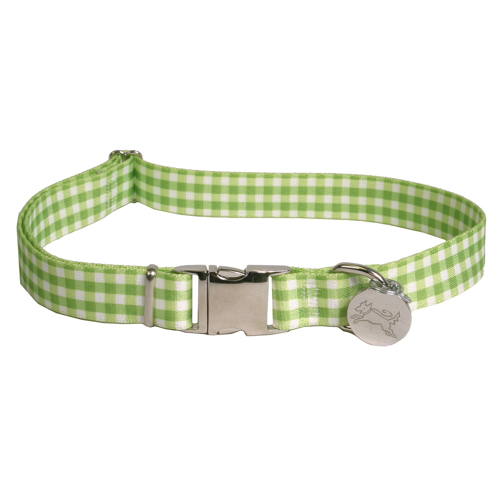 Southern Dawg: Gingham Green Premium Dog Collar