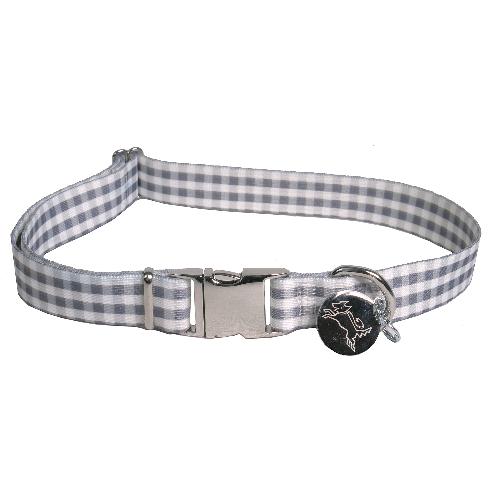 Southern Dawg: Gingham Gray Premium Dog Collar