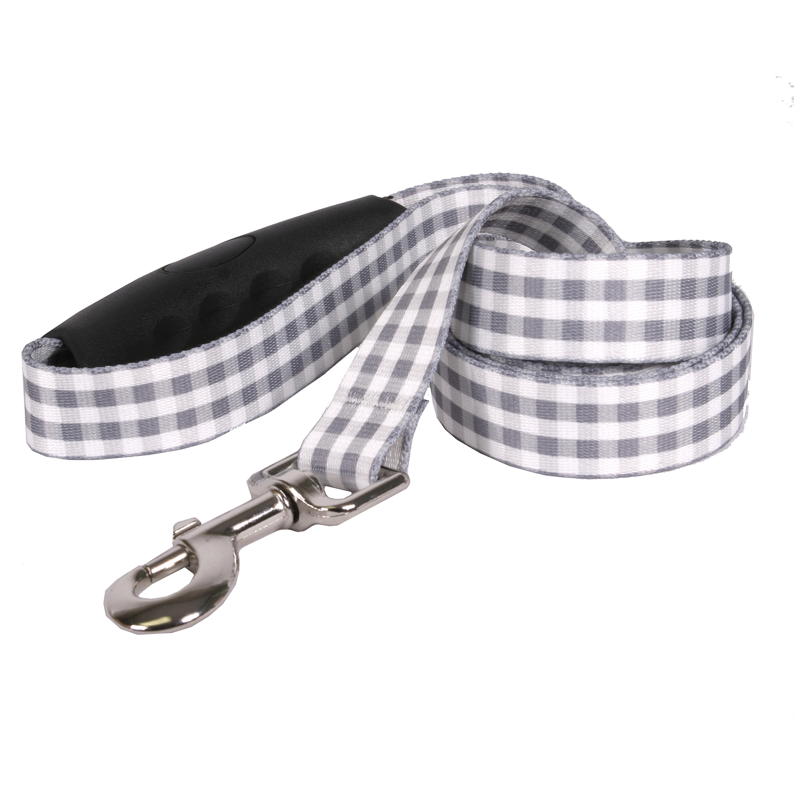 Southern Dawg: Gingham Gray EZ-Grip Dog Leash