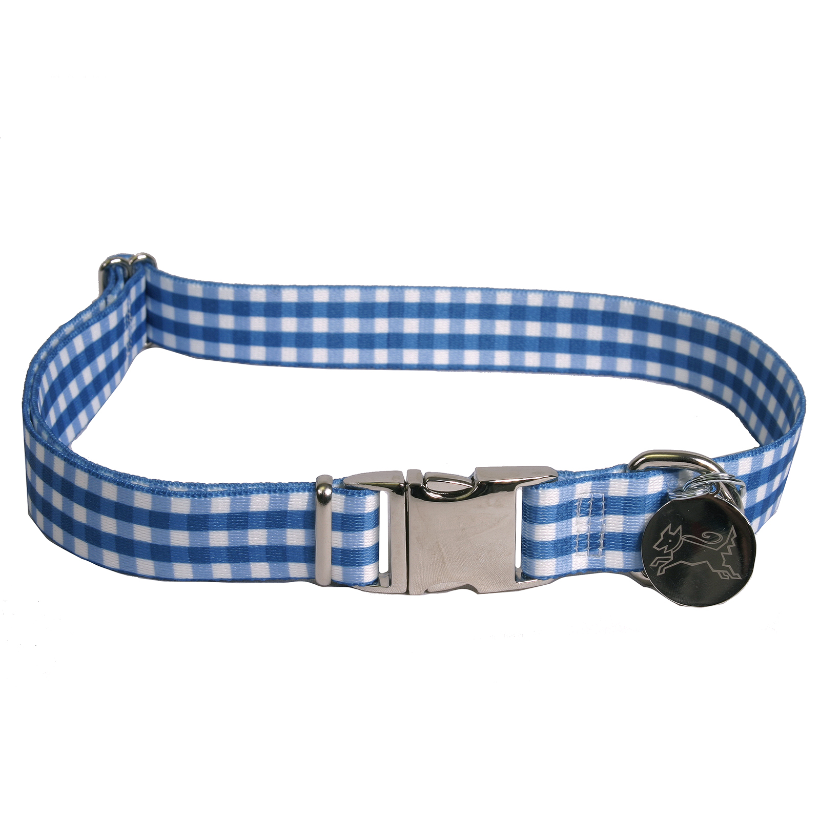 Southern Dawg: Gingham Navy Blue Premium Dog Collar
