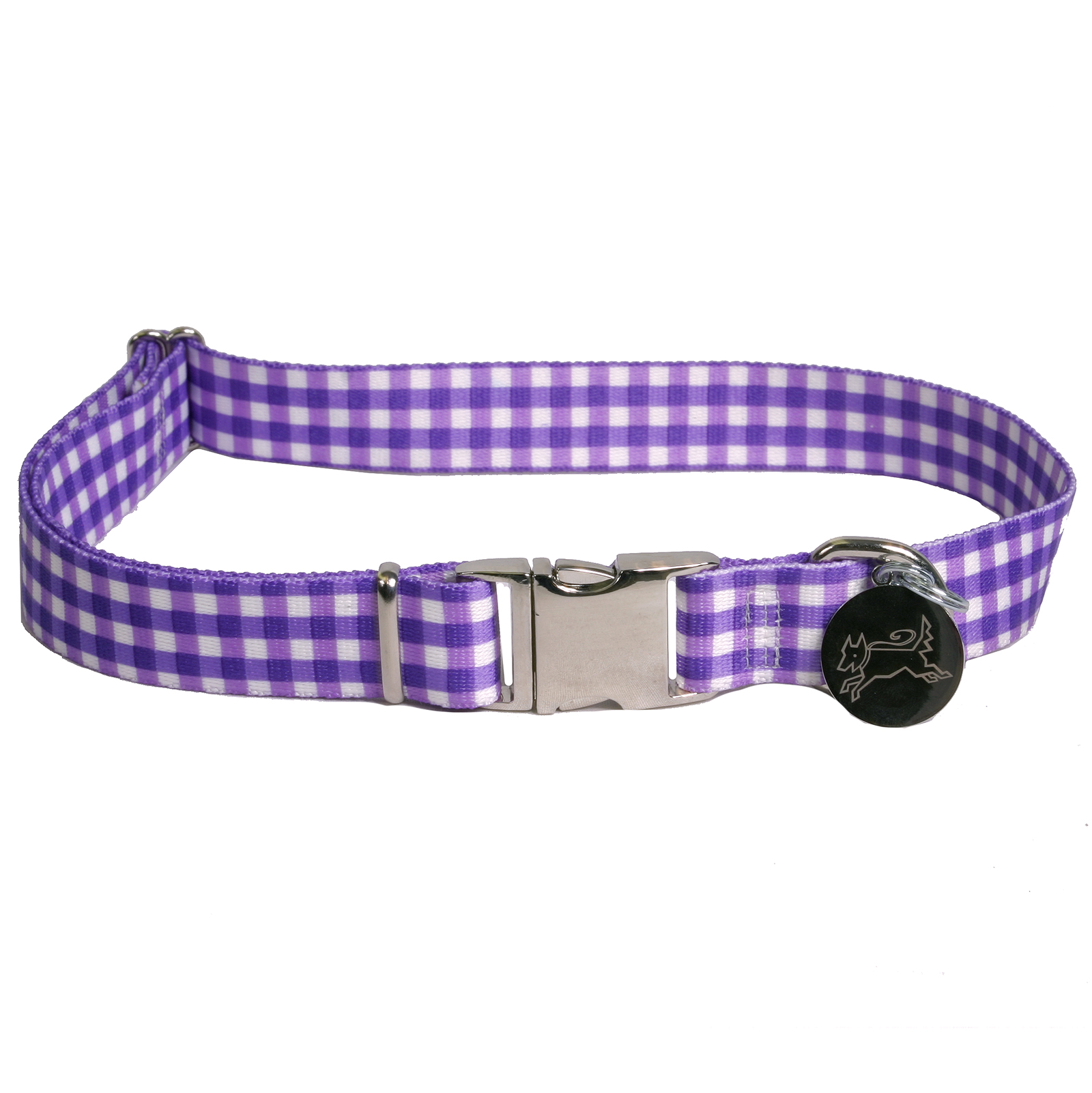 Southern Dawg: Gingham Purple Premium Dog Collar