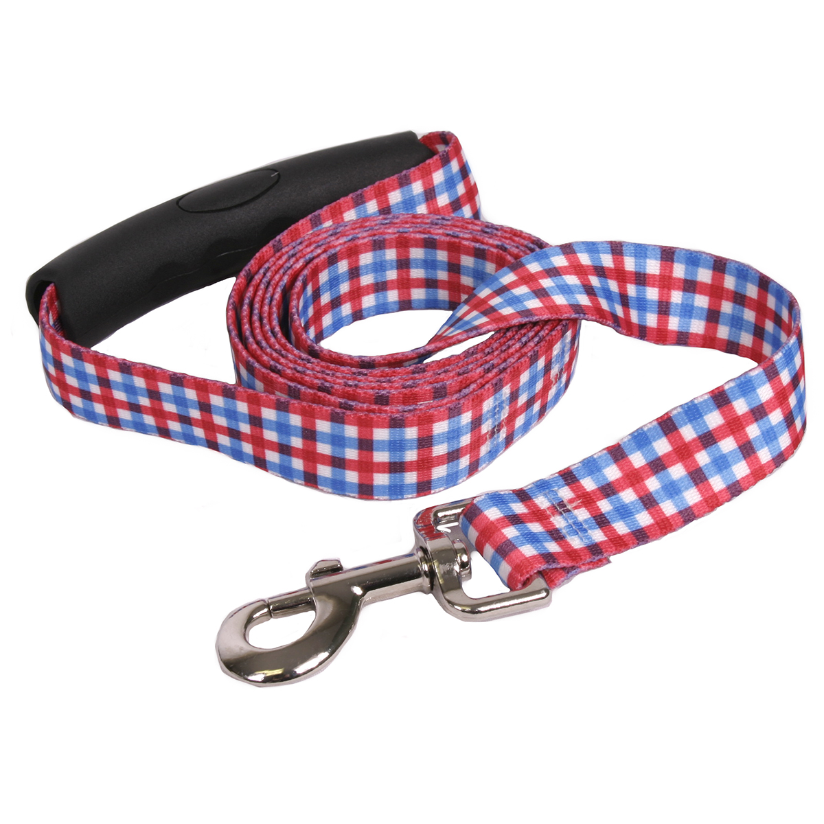 Southern Dawg: Gingham Red & Blue EZ-Grip Dog Leash