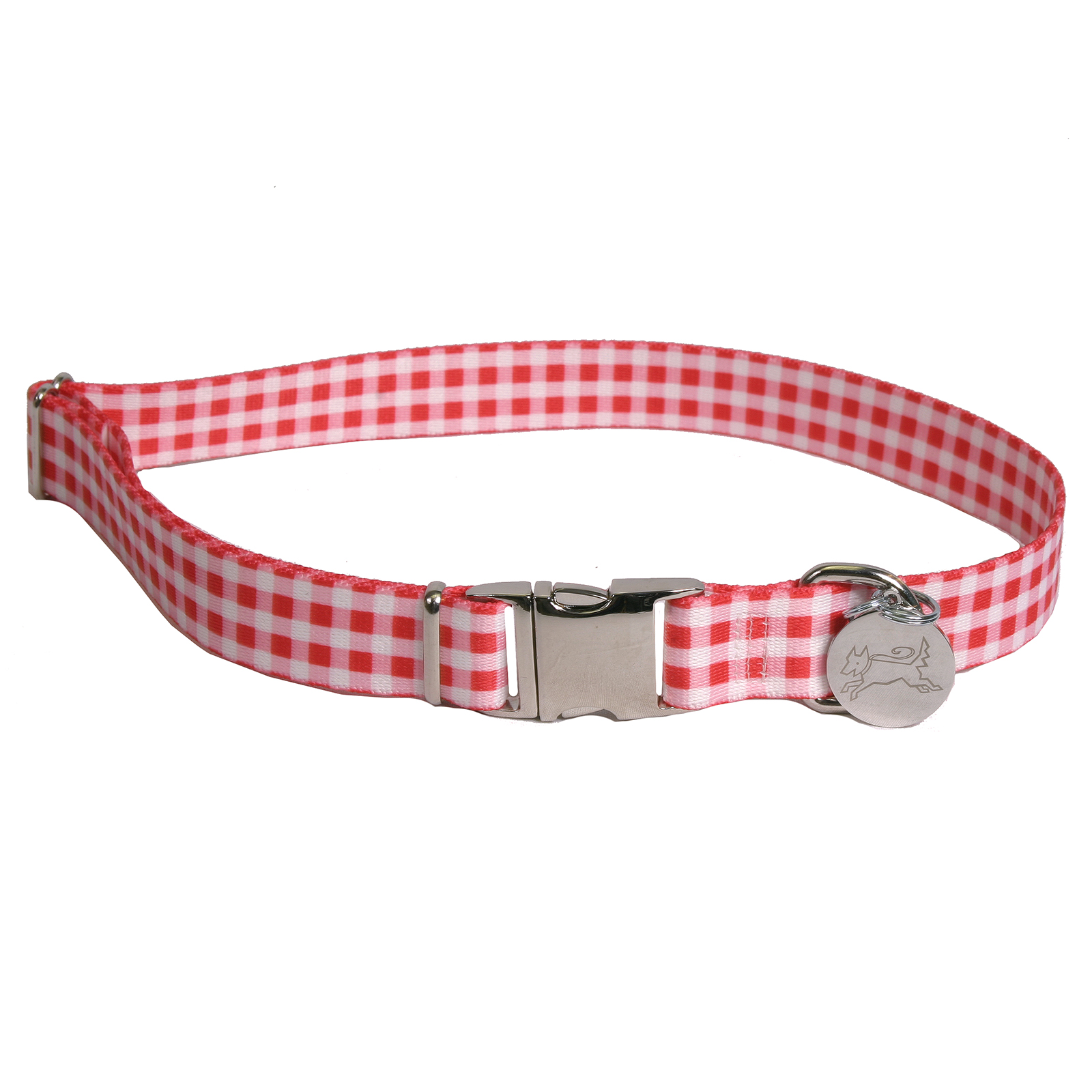 Southern Dawg: Gingham Red Premium Dog Collar