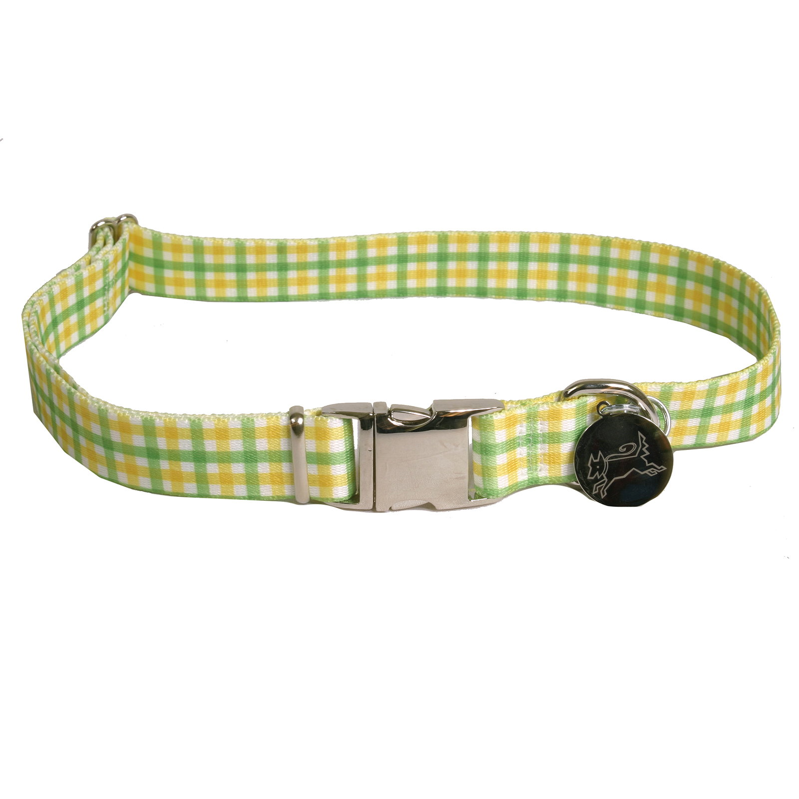Southern Dawg: Gingham Yellow & Green Premium Dog Collar