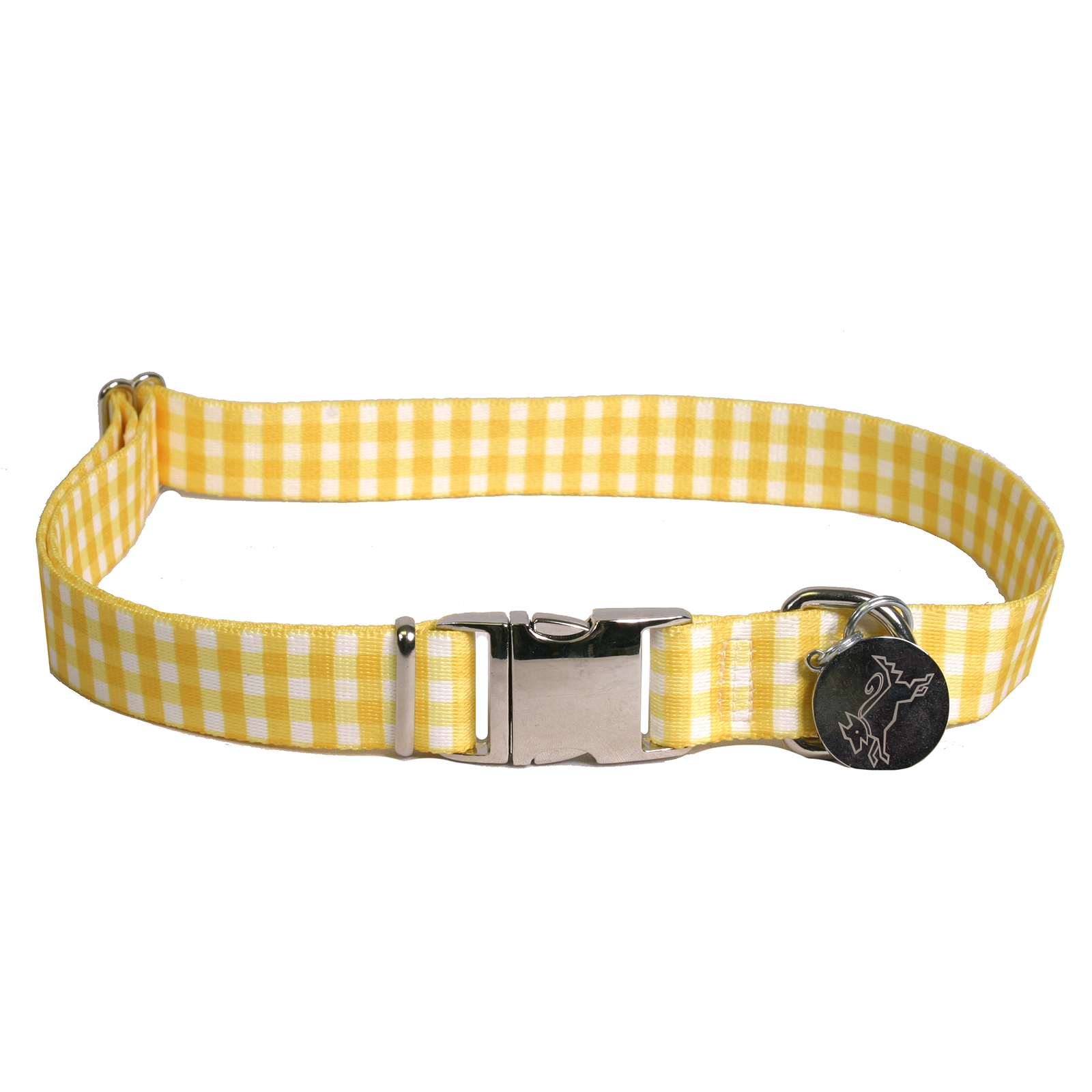 Southern Dawg: Gingham Yellow Premium Dog Collar