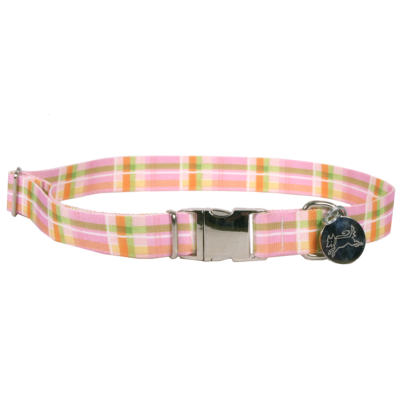 Southern Dawg: Madras Pink Premium Dog Collar