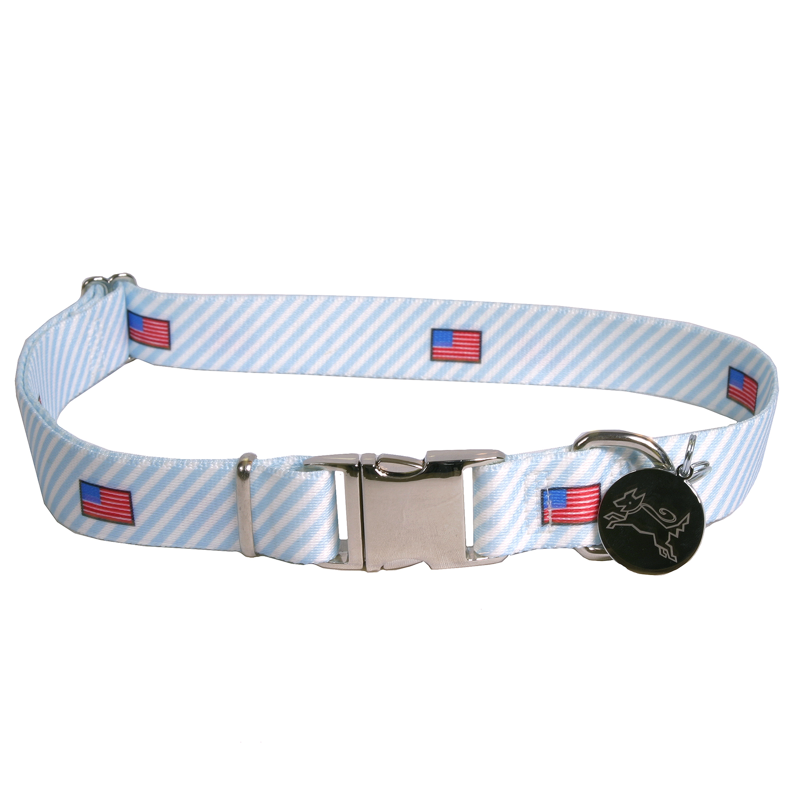 Southern Dawg: Seersucker Blue w/American Flags Premium Dog Collar