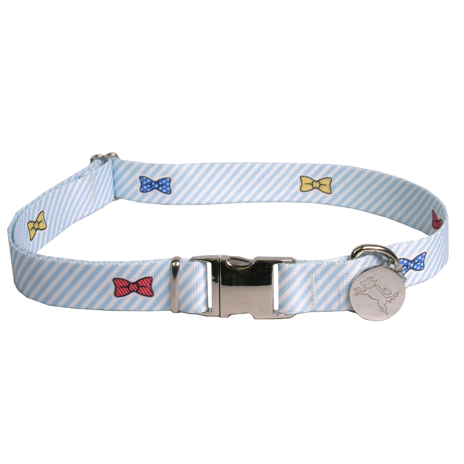 Southern Dawg: Seersucker Blue w/Bow Ties Premium Dog Collar